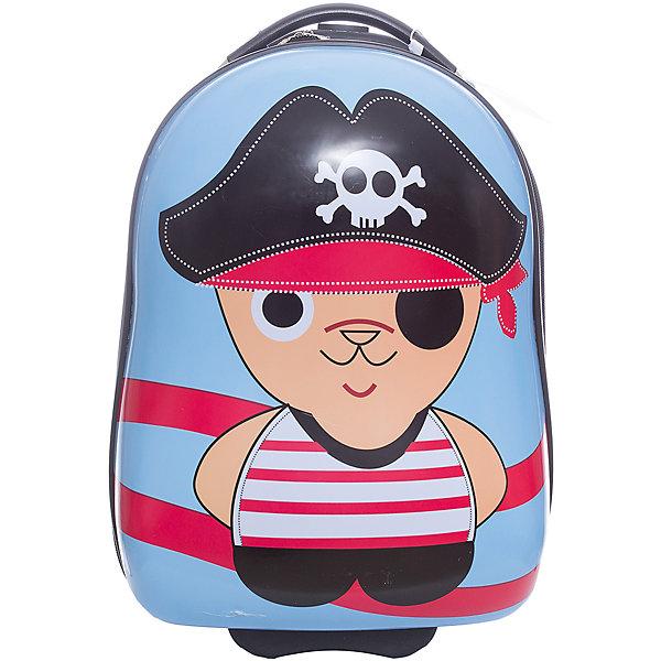 Чемодан  Vitacci для мальчикаДетские сумки<br>Характеристики товара:<br><br>• цвет: голубой;<br>• материал: пластик;<br>• внутренний материал: текстиль;<br>• объем чемодана: 32 литра;<br>• вес чемодана: 1,8 кг;<br>• размер чемодана: 33х22х40 см;<br>• чемодан застегивается на молнию:<br>• чемодан на двух колесиках;<br>• чемодан с выдвижной телескопической ручкой;<br>• ручка фиксируется в двух положениях;<br>• количество отделений чемодана: 2;<br>• 1 на молнии, 2 с перекрестными ремнями;<br>• страна производства: Китай.<br><br>Этот забавный чемодан отлично подойдет для путешествий с детьми. Удобный чемодан на прочных колесиках с выдвижной ручкой. Чемодан застегиваются на молнию, сделан из прочного пластика. Внутри чемодана два отделения. На чемодане крупный рисунок в виде кота-пирата.<br><br>Чемодан Vitacci (Витачи) можно купить в нашем интернет-магазине.<br>Ширина мм: 170; Глубина мм: 157; Высота мм: 67; Вес г: 117; Цвет: голубой; Возраст от месяцев: 48; Возраст до месяцев: 144; Пол: Мужской; Возраст: Детский; Размер: one size; SKU: 6927034;