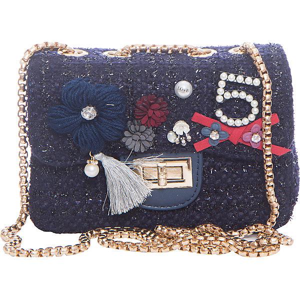 Сумка для девочки VitacciДетские сумки<br>Характеристики товара:<br><br>• цвет: темно-синий;<br>• материал: текстиль;<br>• особенности: с аппликацией, с бусинами, со стразами;<br>• застежка: клапан с замочком;<br>• количество отделений: 1;<br>• внутренний карман на молнии;<br>• сумка на плечо;<br>• ремешок в виде цепочки;<br>• вес: 100 гр;<br>• размер: 21х6х13 см;<br>• страна бренда: Италия;<br>• страна производства: Китай.<br><br>Сумка на плечо для девочки. Сумка застегивается на клапан с замочком, ремешок в виде цепочки. Внутри одно отделение и карман на молнии. Спереди сумка декорирована объемными аппликациями и бусинами под жемчуг и стразами.<br><br>Сумку на плечо Vitacci (Витачи) можно купить в нашем интернет-магазине.<br>Ширина мм: 170; Глубина мм: 157; Высота мм: 67; Вес г: 117; Цвет: синий; Возраст от месяцев: 48; Возраст до месяцев: 144; Пол: Женский; Возраст: Детский; Размер: one size; SKU: 6927038;