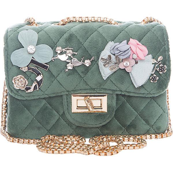 Сумка для девочки VitacciДетские сумки<br>Характеристики товара:<br><br>• цвет: зеленый;<br>• материал: текстиль;<br>• особенности: с аппликацией, меховая;<br>• застежка: клапан с замочком;<br>• количество отделений: 1;<br>• внутренний карман на молнии;<br>• внешний карман без застежки;<br>• сумка на плечо;<br>• ремешок в виде цепочки;<br>• вес: 200 гр;<br>• размер: 23х8х12 см;<br>• страна бренда: Италия;<br>• страна производства: Китай.<br><br>Сумка на плечо для девочки. Сумка застегивается на клапан с замочком, ремешок в виде цепочки. Внутри одно отделение и карман на молнии. Спереди сумка декорирована объемными аппликациями.<br><br>Сумку на плечо Vitacci (Витачи) можно купить в нашем интернет-магазине.<br><br>Ширина мм: 170<br>Глубина мм: 157<br>Высота мм: 67<br>Вес г: 117<br>Цвет: зеленый<br>Возраст от месяцев: 48<br>Возраст до месяцев: 144<br>Пол: Женский<br>Возраст: Детский<br>Размер: one size<br>SKU: 6927052