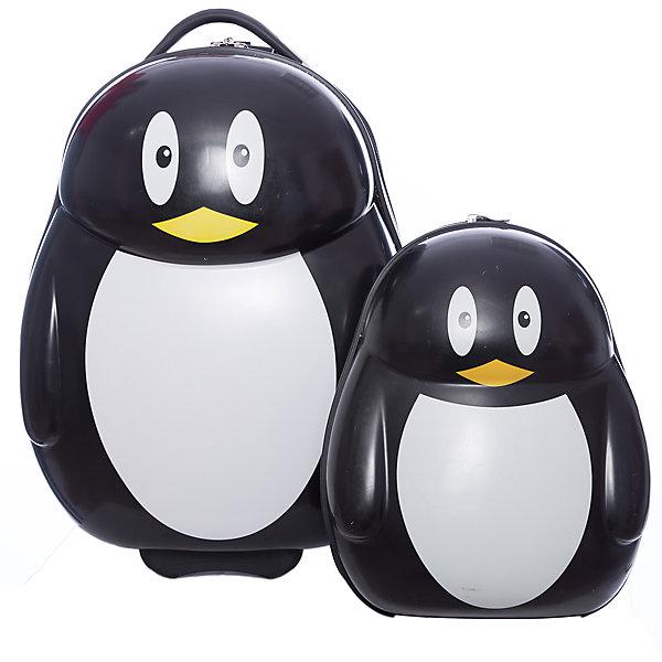 Чемодан+рюкзак  VitacciАксессуары<br>Характеристики товара:<br><br>• цвет: черный;<br>• материал: пластик;<br>• внутренний материал: текстиль;<br>• объем чемодана: 32 литра;<br>• вес чемодана: 1,8 кг;<br>• размер чемодана: 33х22х40 см;<br>• чемодан застегивается на молнию:<br>• чемодан на колесиках;<br>• чемодан с выдвижной телескопической ручкой;<br>• ручка фиксируется в двух положениях;<br>• количество отделений чемодана: 2;<br>• 1 на молнии, 2 с перекрестными ремнями;<br>• объем рюкзака: 12 литров;<br>• вес рюкзака: 0,5 кг;<br>• рюкзак застегивается на молнию;<br>• количество отделений рюкзака: 1;<br>• ручка-переноска;<br>• мягкая спинка;<br>• размеры рюкзака: 25х15х33 см;<br>• страна бренда: Италия;<br>• страна производства: Китай.<br><br>Этот забавный комплект и чемодана и рюкзака отлично подойдет для путешествий с детьми. Удобный чемодан на прочных колесиках с выдвижной ручкой. И чемодан и рюкзак застегиваются на молнию, сделаны из прочного пластика. Молния рюкзака с возможность крепления на нее навесного замка. Комплект выполнен в виде забавных пингвинов.<br><br>Чемодан + рюкзак Vitacci (Витачи) можно купить в нашем интернет-магазине.<br>Ширина мм: 170; Глубина мм: 157; Высота мм: 67; Вес г: 117; Цвет: черный; Возраст от месяцев: 48; Возраст до месяцев: 144; Пол: Унисекс; Возраст: Детский; Размер: one size; SKU: 6927068;