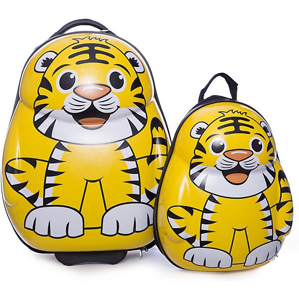 Чемодан+рюкзак  VitacciАксессуары<br>Характеристики товара:<br><br>• цвет: желтый;<br>• материал: пластик;<br>• внутренний материал: текстиль;<br>• объем чемодана: 32 литра;<br>• вес чемодана: 1,8 кг;<br>• размер чемодана: 33х22х40 см;<br>• чемодан застегивается на молнию:<br>• чемодан на колесиках;<br>• чемодан с выдвижной телескопической ручкой;<br>• ручка фиксируется в двух положениях;<br>• количество отделений чемодана: 2;<br>• 1 на молнии, 2 с перекрестными ремнями;<br>• объем рюкзака: 12 литров;<br>• вес рюкзака: 0,5 кг;<br>• рюкзак застегивается на молнию;<br>• количество отделений рюкзака: 1;<br>• ручка-переноска;<br>• мягкая спинка;<br>• размеры рюкзака: 25х15х33 см;<br>• страна бренда: Италия;<br>• страна производства: Китай.<br><br>Этот забавный комплект и чемодана и рюкзака отлично подойдет для путешествий с детьми. Удобный чемодан на прочных колесиках с выдвижной ручкой. И чемодан и рюкзак застегиваются на молнию, сделаны из прочного пластика. Молния рюкзака с возможность крепления на нее навесного замка. Комплект выполнен в виде забавных тигрят.<br><br>Чемодан + рюкзак Vitacci (Витачи) можно купить в нашем интернет-магазине.<br><br>Ширина мм: 170<br>Глубина мм: 157<br>Высота мм: 67<br>Вес г: 117<br>Цвет: желтый<br>Возраст от месяцев: 48<br>Возраст до месяцев: 144<br>Пол: Унисекс<br>Возраст: Детский<br>Размер: one size<br>SKU: 6927070
