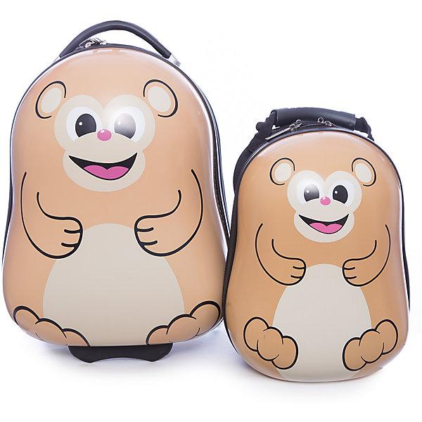 Чемодан+рюкзак  VitacciАксессуары<br>Характеристики товара:<br><br>• цвет: бежевый;<br>• материал: пластик;<br>• внутренний материал: текстиль;<br>• объем чемодана: 32 литра;<br>• вес чемодана: 1,8 кг;<br>• размер чемодана: 33х22х40 см;<br>• чемодан застегивается на молнию:<br>• чемодан на колесиках;<br>• чемодан с выдвижной телескопической ручкой;<br>• ручка фиксируется в двух положениях;<br>• количество отделений чемодана: 2;<br>• 1 на молнии, 2 с перекрестными ремнями;<br>• объем рюкзака: 12 литров;<br>• вес рюкзака: 0,5 кг;<br>• рюкзак застегивается на молнию;<br>• количество отделений рюкзака: 1;<br>• ручка-переноска;<br>• мягкая спинка;<br>• размеры рюкзака: 25х15х33 см;<br>• страна бренда: Италия;<br>• страна производства: Китай.<br><br>Этот забавный комплект и чемодана и рюкзака отлично подойдет для путешествий с детьми. Удобный чемодан на прочных колесиках с выдвижной ручкой. И чемодан и рюкзак застегиваются на молнию, сделаны из прочного пластика. Молния рюкзака с возможность крепления на нее навесного замка. Комплект выполнен в виде забавных обезьянок.<br><br>Чемодан + рюкзак Vitacci (Витачи) можно купить в нашем интернет-магазине.<br>Ширина мм: 170; Глубина мм: 157; Высота мм: 67; Вес г: 117; Цвет: бежевый; Возраст от месяцев: 48; Возраст до месяцев: 144; Пол: Унисекс; Возраст: Детский; Размер: one size; SKU: 6927072;