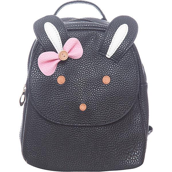Сумка для девочки VitacciДетские сумки<br>Характеристики товара:<br><br>• цвет: черный;<br>• материал: искусственная кожа;<br>• особенности: кожаный, с рисунком;<br>• застежка: молния;<br>• количество отделений: 1;<br>• внутренний карман на молнии;<br>• плечевые лямки регулируются по длине;<br>• вес: 200 гр;<br>• размер: 22х6х21 см;<br>• страна бренда: Италия;<br>• страна производства: Китай.<br><br>Детский рюкзак черного цвета. Рюкзак для девочки застегивается на молнию. Внутри одно большое отделение и карман на молнии. Плечевые ремни регулируются. Спереди рисунок в виде мордашки и ушек зайчика.<br><br>Рюкзак Vitacci (Витачи) можно купить в нашем интернет-магазине.<br><br>Ширина мм: 170<br>Глубина мм: 157<br>Высота мм: 67<br>Вес г: 117<br>Цвет: черный<br>Возраст от месяцев: 48<br>Возраст до месяцев: 144<br>Пол: Женский<br>Возраст: Детский<br>Размер: one size<br>SKU: 6927100