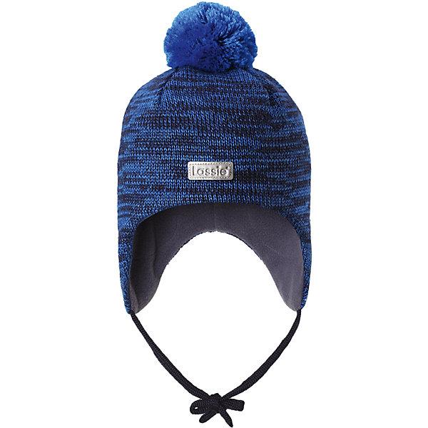 Шапка LassieШапки и шарфы<br>Характеристики товара:<br><br>• цвет: синий;<br>• состав: 50% шерсть, 50% полиакрил;<br>• подкладка: 100% полиэстер, флис;<br>• сезон: зима;<br>• температурный режим: от +5 до -20С;<br>• особенности: на завязках, на флисовой подкладке, с помпоном;<br>• застежка: эластичные завязки;<br>• мягкая и теплая ткань из смеси шерсти;<br>• ветронепроницаемые вставки в области ушей;<br>• помпон сверху;<br>• сплошная подкладка: мягкий, теплый флис;<br>• интересная структура поверхности; <br>• светоотражающая эмблема спереди;<br>• страна бренда: Финляндия;<br>• страна изготовитель: Китай;<br><br>Шапка с помпоном, выполненная из смеси шерсти для холодных осенних и зимних дней. Оригинальная структурная вязка придает ей модный вид. Шапка на подкладке из флиса, ветронепроницаемые вставки в области ушей помогут защитить ушки от морозного ветра во время прогулок на свежем воздухе. Спереди имеется светоотражающая эмблема Lassie® и стильный помпон завершает образ!<br><br>Шапку Lassie (Ласси) можно купить в нашем интернет-магазине.<br><br>Ширина мм: 89<br>Глубина мм: 117<br>Высота мм: 44<br>Вес г: 155<br>Цвет: синий<br>Возраст от месяцев: 12<br>Возраст до месяцев: 24<br>Пол: Мужской<br>Возраст: Детский<br>Размер: 46-48,44-46,50-52<br>SKU: 6927259