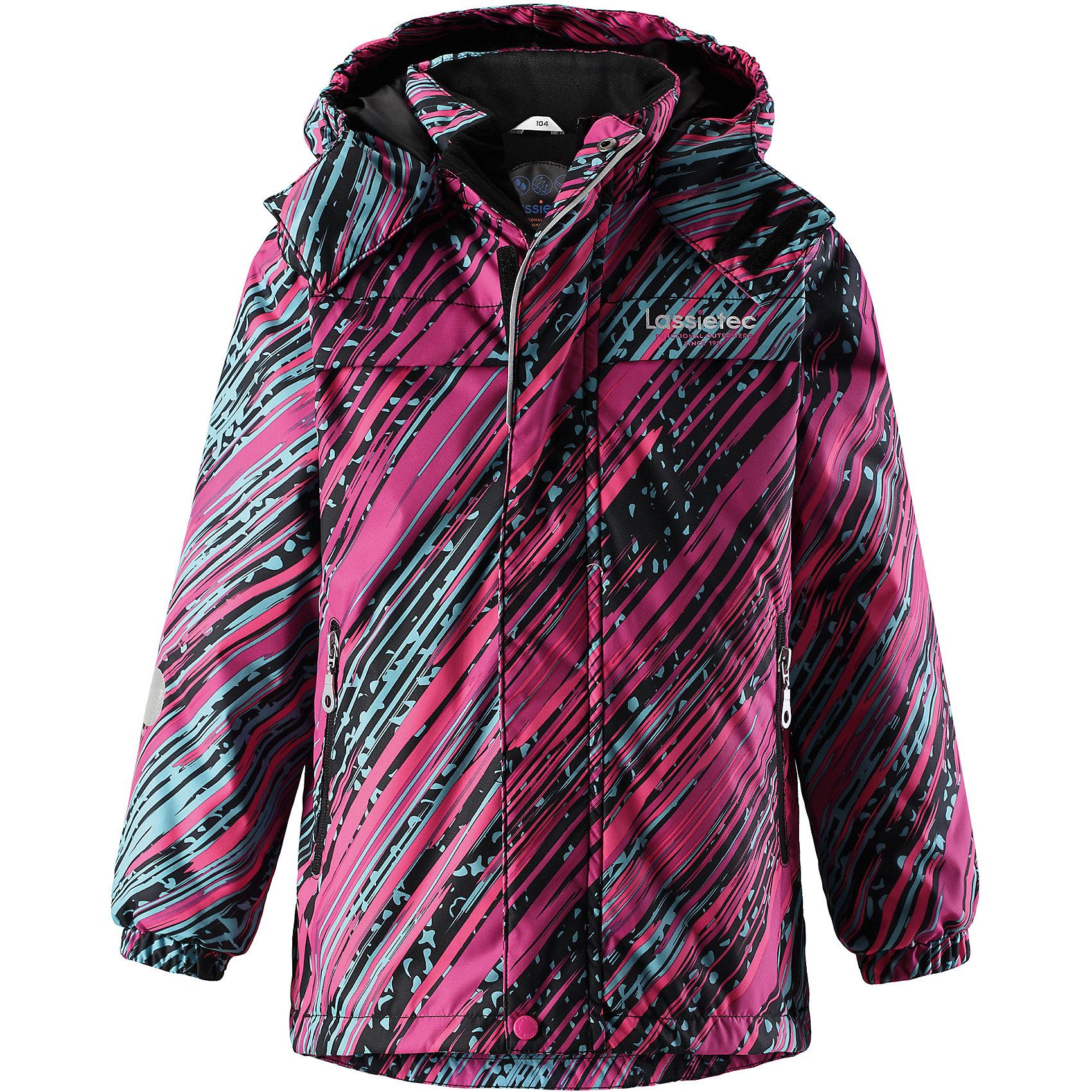 Куртка Lassietec LassieОдежда<br>Характеристики товара:<br><br>• цвет: розовый в полоску;<br>• состав: 100% полиэстер, полиуретановое покрытие;<br>• подкладка: 100% полиэстер;<br>• утеплитель: 140 г/м2;<br>• сезон: зима;<br>• температурный режим: от 0 до -20С;<br>• водонепроницаемость: 5000 мм;<br>• воздухопроницаемость: 5000 мм;<br>• износостойкость: 20000 циклов (тест Мартиндейла)<br>• застежка: молния с дополнительной защитной планкой;<br>• водоотталкивающий, ветронепроницаемый, дышащий и грязеотталкивающий материал;<br>• внешние швы проклеены;<br>• гладкая подкладка из полиэстера;<br>• безопасный съемный капюшон; <br>• эластичная талия и манжеты рукавов;<br>• карманы на молнии;<br>• светоотражающие детали;<br>• страна бренда: Финляндия;<br>• страна изготовитель: Китай;<br><br>Эта теплая и функциональная детская зимняя куртка Lassietec® отлично подходит для ежедневной носки! Съемный капюшон защищает от пронизывающего ветра и гарантирует безопасность во время игр на свежем воздухе. Гладкая и приятная на ощупь подкладка облегчает надевание и обеспечивает дополнительное утепление. Все основные швы в куртке проклеены, водонепроницаемы, а водонепроницаемый, ветронепроницаемый и дышащий материал обеспечивает комфорт во время веселых прогулок. <br><br>Куртку Lassietec Lassie (Ласси) для мальчика можно купить в нашем интернет-магазине.<br><br>Ширина мм: 356<br>Глубина мм: 10<br>Высота мм: 245<br>Вес г: 519<br>Цвет: розовый<br>Возраст от месяцев: 108<br>Возраст до месяцев: 120<br>Пол: Унисекс<br>Возраст: Детский<br>Размер: 140,92,98,104,110,116,122,128,134<br>SKU: 6927423