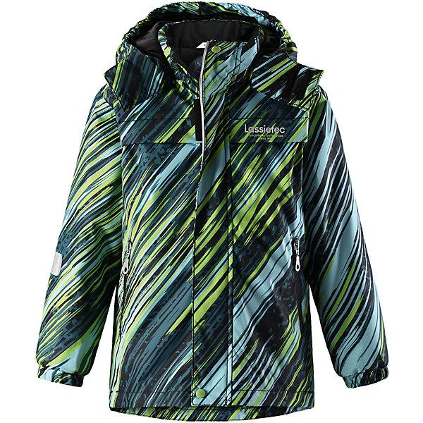 Куртка Lassietec LassieОдежда<br>Характеристики товара:<br><br>• цвет: зеленый в полоску;<br>• состав: 100% полиэстер, полиуретановое покрытие;<br>• подкладка: 100% полиэстер;<br>• утеплитель: 140 г/м2;<br>• сезон: зима;<br>• температурный режим: от 0 до -20С;<br>• водонепроницаемость: 5000 мм;<br>• воздухопроницаемость: 5000 мм;<br>• износостойкость: 20000 циклов (тест Мартиндейла)<br>• застежка: молния с дополнительной защитной планкой;<br>• водоотталкивающий, ветронепроницаемый, дышащий и грязеотталкивающий материал;<br>• внешние швы проклеены;<br>• гладкая подкладка из полиэстера;<br>• безопасный съемный капюшон; <br>• эластичная талия, манжеты рукавов и низ штанин;<br>• карманы на молнии;<br>• светоотражающие детали;<br>• страна бренда: Финляндия;<br>• страна изготовитель: Китай;<br><br>Эта теплая и функциональная детская зимняя куртка Lassietec® отлично подходит для ежедневной носки! Съемный капюшон защищает от пронизывающего ветра и гарантирует безопасность во время игр на свежем воздухе. Гладкая и приятная на ощупь подкладка облегчает надевание и обеспечивает дополнительное утепление. Все основные швы в куртке проклеены, водонепроницаемы, а водонепроницаемый, ветронепроницаемый и дышащий материал обеспечивает комфорт во время веселых прогулок. <br><br>Куртку Lassietec Lassie (Ласси) для мальчика можно купить в нашем интернет-магазине.<br>Ширина мм: 356; Глубина мм: 10; Высота мм: 245; Вес г: 519; Цвет: зеленый; Возраст от месяцев: 18; Возраст до месяцев: 24; Пол: Мужской; Возраст: Детский; Размер: 134,140,98,104,110,116,92,122,128; SKU: 6927433;