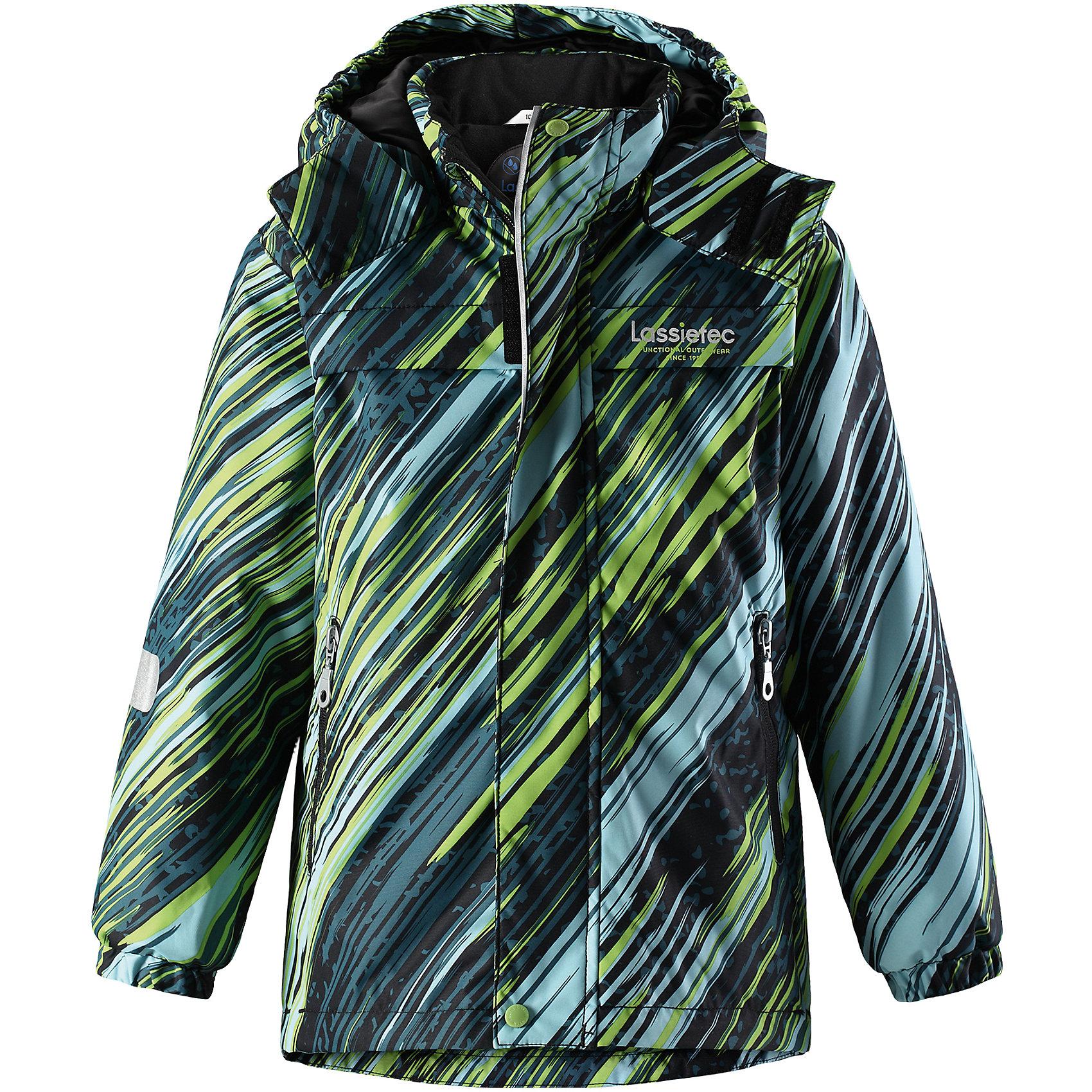 Куртка Lassietec LassieОдежда<br>Характеристики товара:<br><br>• цвет: зеленый в полоску;<br>• состав: 100% полиэстер, полиуретановое покрытие;<br>• подкладка: 100% полиэстер;<br>• утеплитель: 140 г/м2;<br>• сезон: зима;<br>• температурный режим: от 0 до -20С;<br>• водонепроницаемость: 5000 мм;<br>• воздухопроницаемость: 5000 мм;<br>• износостойкость: 20000 циклов (тест Мартиндейла)<br>• застежка: молния с дополнительной защитной планкой;<br>• водоотталкивающий, ветронепроницаемый, дышащий и грязеотталкивающий материал;<br>• внешние швы проклеены;<br>• гладкая подкладка из полиэстера;<br>• безопасный съемный капюшон; <br>• эластичная талия, манжеты рукавов и низ штанин;<br>• карманы на молнии;<br>• светоотражающие детали;<br>• страна бренда: Финляндия;<br>• страна изготовитель: Китай;<br><br>Эта теплая и функциональная детская зимняя куртка Lassietec® отлично подходит для ежедневной носки! Съемный капюшон защищает от пронизывающего ветра и гарантирует безопасность во время игр на свежем воздухе. Гладкая и приятная на ощупь подкладка облегчает надевание и обеспечивает дополнительное утепление. Все основные швы в куртке проклеены, водонепроницаемы, а водонепроницаемый, ветронепроницаемый и дышащий материал обеспечивает комфорт во время веселых прогулок. <br><br>Куртку Lassietec Lassie (Ласси) для мальчика можно купить в нашем интернет-магазине.<br><br>Ширина мм: 356<br>Глубина мм: 10<br>Высота мм: 245<br>Вес г: 519<br>Цвет: зеленый<br>Возраст от месяцев: 96<br>Возраст до месяцев: 108<br>Пол: Унисекс<br>Возраст: Детский<br>Размер: 134,140,92,98,104,110,116,122,128<br>SKU: 6927433
