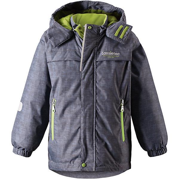 Куртка Lassietec LassieОдежда<br>Характеристики товара:<br><br>• цвет: серый/салатовый;<br>• состав: 100% полиэстер, полиуретановое покрытие;<br>• подкладка: 100% полиэстер;<br>• утеплитель: 140 г/м2;<br>• сезон: зима;<br>• температурный режим: от 0 до -20С;<br>• водонепроницаемость: 5000 мм;<br>• воздухопроницаемость: 5000 мм;<br>• износостойкость: 20000 циклов (тест Мартиндейла)<br>• застежка: молния с дополнительной защитной планкой;<br>• водоотталкивающий, ветронепроницаемый, дышащий и грязеотталкивающий материал;<br>• внешние швы проклеены;<br>• гладкая подкладка из полиэстера;<br>• безопасный съемный капюшон; <br>• эластичная талия и манжеты рукавов;<br>• карманы на молнии;<br>• светоотражающие детали;<br>• страна бренда: Финляндия;<br>• страна изготовитель: Китай;<br><br>Эта теплая и функциональная детская зимняя куртка Lassietec® отлично подходит для ежедневной носки! Съемный капюшон защищает от пронизывающего ветра и гарантирует безопасность во время игр на свежем воздухе. Гладкая и приятная на ощупь подкладка облегчает надевание и обеспечивает дополнительное утепление. Все основные швы в куртке проклеены, водонепроницаемы, а водонепроницаемый, ветронепроницаемый и дышащий материал обеспечивает комфорт во время веселых прогулок. <br><br>Куртку Lassietec Lassie (Ласси) для мальчика можно купить в нашем интернет-магазине.<br>Ширина мм: 356; Глубина мм: 10; Высота мм: 245; Вес г: 519; Цвет: серый; Возраст от месяцев: 18; Возраст до месяцев: 24; Пол: Мужской; Возраст: Детский; Размер: 92,140,98,104,110,116,122,128,134; SKU: 6927453;