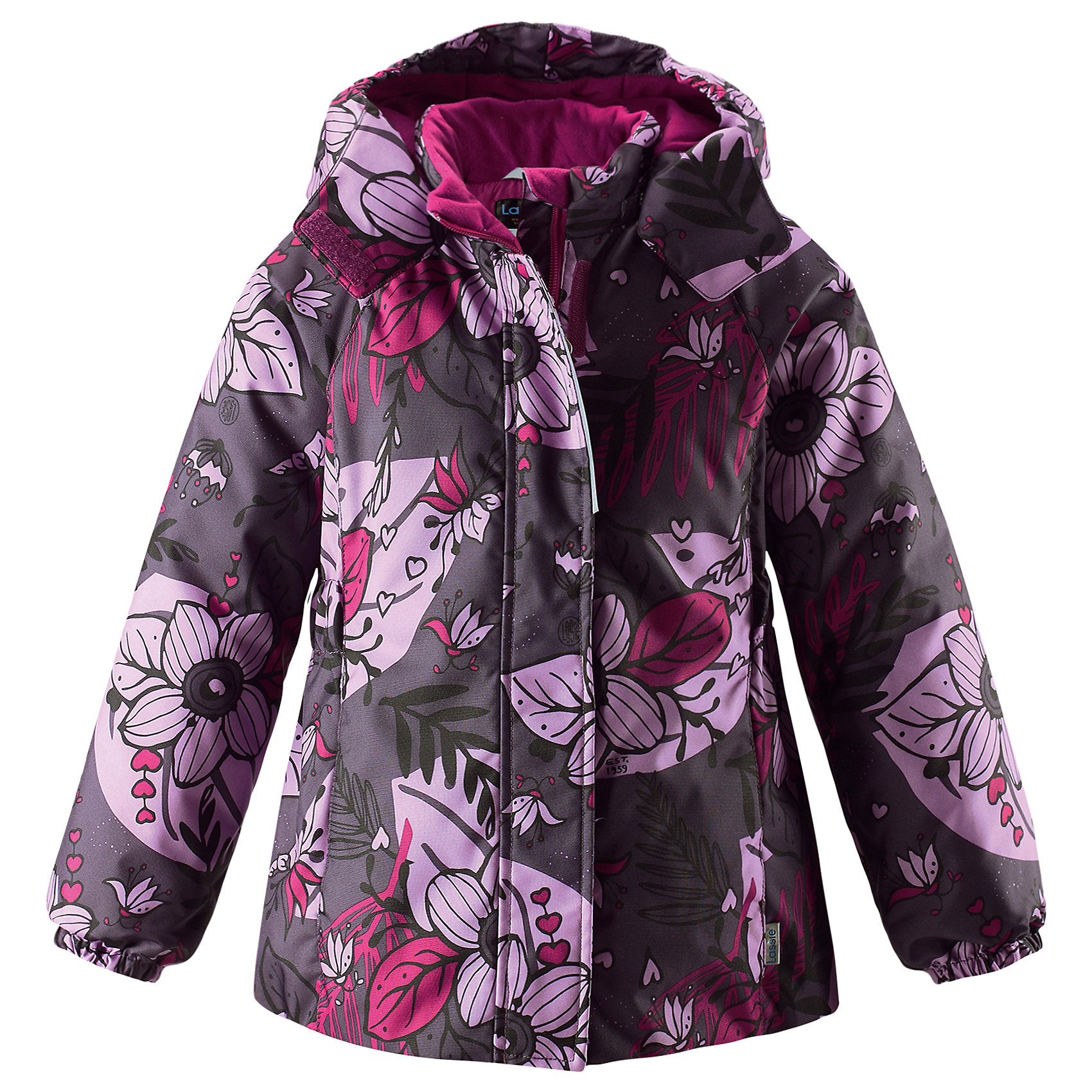 Куртка Lassie для девочкиОдежда<br>Характеристики товара:<br><br>• цвет: фиолетовый;<br>• состав: 100% полиэстер, полиуретановое покрытие;<br>• подкладка: 100% полиэстер;<br>• утеплитель: 180 г/м2;<br>• сезон: зима;<br>• температурный режим: от 0 до -20С;<br>• водонепроницаемость: 1000 мм;<br>• воздухопроницаемость: 1000 мм;<br>• износостойкость: 50000 циклов (тест Мартиндейла);<br>• застежка: молния с дополнительной защитной планкой;<br>• водоотталкивающий, ветронепроницаемый и дышащий материал;<br>• гладкая подкладка из полиэстера;<br>• безопасный съемный капюшон; <br>• эластичные манжеты рукавов; <br>• эластичная кромка подола;<br>• карманы в боковых швах;<br>• светоотражающие детали;<br>• страна бренда: Финляндия;<br>• страна изготовитель: Китай;<br><br>Зимняя куртка для девочек с цветочным рисунком. Куртка изготовлена из ветронепроницаемого, дышащего материала с верхним водо- и грязеотталкивающим слоем, поэтому вашему ребенку будет тепло и удобно во время веселых зимних прогулок. Эта куртка с подкладкой из гладкого полиэстера легко надевается, и ее очень удобно носить с теплым промежуточным слоем. Безопасный, отстегивающийся капюшон защищает от холодного ветра, а также безопасен во время игр на свежем воздухе. Модель для девочек.<br><br><br>Куртку Lassie (Ласси) для девочки можно купить в нашем интернет-магазине.<br><br>Ширина мм: 356<br>Глубина мм: 10<br>Высота мм: 245<br>Вес г: 519<br>Цвет: лиловый<br>Возраст от месяцев: 108<br>Возраст до месяцев: 120<br>Пол: Женский<br>Возраст: Детский<br>Размер: 140,92,98,104,110,116,122,128,134<br>SKU: 6927491