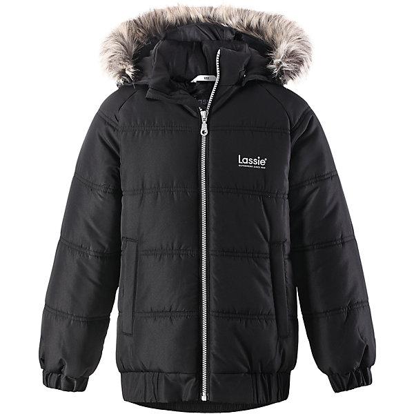 Куртка Lassie для мальчикаОдежда<br>Характеристики товара:<br><br>• цвет: черный;<br>• состав: 100% полиэстер, полиуретановое покрытие;<br>• подкладка: 100% полиэстер;<br>• утеплитель: 200 г/м2;<br>• сезон: зима;<br>• температурный режим: от 0 до -25С;<br>• водонепроницаемость: 1000 мм;<br>• воздухопроницаемость: 1000 мм;<br>• износостойкость: 20000 циклов (тест Мартиндейла);<br>• особенности: с мехом;<br>• застежка: молния с дополнительной защитной планкой и защитой подбородка;<br>• водоотталкивающий, ветронепроницаемый и дышащий материал;<br>• гладкая подкладка из полиэстера;<br>• безопасный съемный капюшон; <br>• съемный искусственный мех на капюшоне;<br>• эластичные манжеты рукавов; <br>• эластичная кромка подола;<br>• два прорезных кармана;<br>• светоотражающие детали;<br>• страна бренда: Финляндия;<br>• страна изготовитель: Китай;<br><br>Классная куртка на зимние холода! Эта зимняя куртка сшита из водоотталкивающего, ветронепроницаемого и дышащего материала. Она снабжена безопасным съемным капюшоном, а съемная оторочка из искусственного меха оживляет образ.<br><br>Куртку Lassie (Ласси) для мальчика можно купить в нашем интернет-магазине.<br>Ширина мм: 356; Глубина мм: 10; Высота мм: 245; Вес г: 519; Цвет: черный; Возраст от месяцев: 18; Возраст до месяцев: 24; Пол: Мужской; Возраст: Детский; Размер: 92,140,134,128,122,116,110,104,98; SKU: 6927661;
