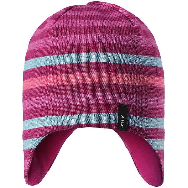 Шапка LassieЗимние<br>Характеристики товара:<br><br>• цвет: розовый;<br>• состав: 50% шерсть, 50% полиакрил;<br>• подкладка: 100% полиэстер, флис;<br>• без утеплителя;<br>• сезон: демисезон;<br>• температурный режим: от +5С;<br>• особенности: шерстяная, вязаная;<br>• мягкая и теплая ткань из смеси шерсти;<br>• ветронепроницаемые вставки в области ушей; <br>• сплошная подкладка: мягкий теплый флис;<br>• светоотражающие детали; <br>• страна бренда: Финляндия;<br>• страна изготовитель: Китай;<br><br>Эта теплая детская шапка в яркую полоску связана из теплой полушерсти и дополнена плотной и мягкой подкладкой из тонкого флиса. Ветронепроницаемые вставки в области ушей обеспечивают дополнительную защиту, а светоотражающая эмблема Lassie® позволяет лучше разглядеть ребенка в темное время суток.<br><br>Шапку Lassie (Ласси) можно купить в нашем интернет-магазине.<br><br>Ширина мм: 89<br>Глубина мм: 117<br>Высота мм: 44<br>Вес г: 155<br>Цвет: розовый<br>Возраст от месяцев: 12<br>Возраст до месяцев: 24<br>Пол: Женский<br>Возраст: Детский<br>Размер: 46-48,54-56,50-52<br>SKU: 6928141