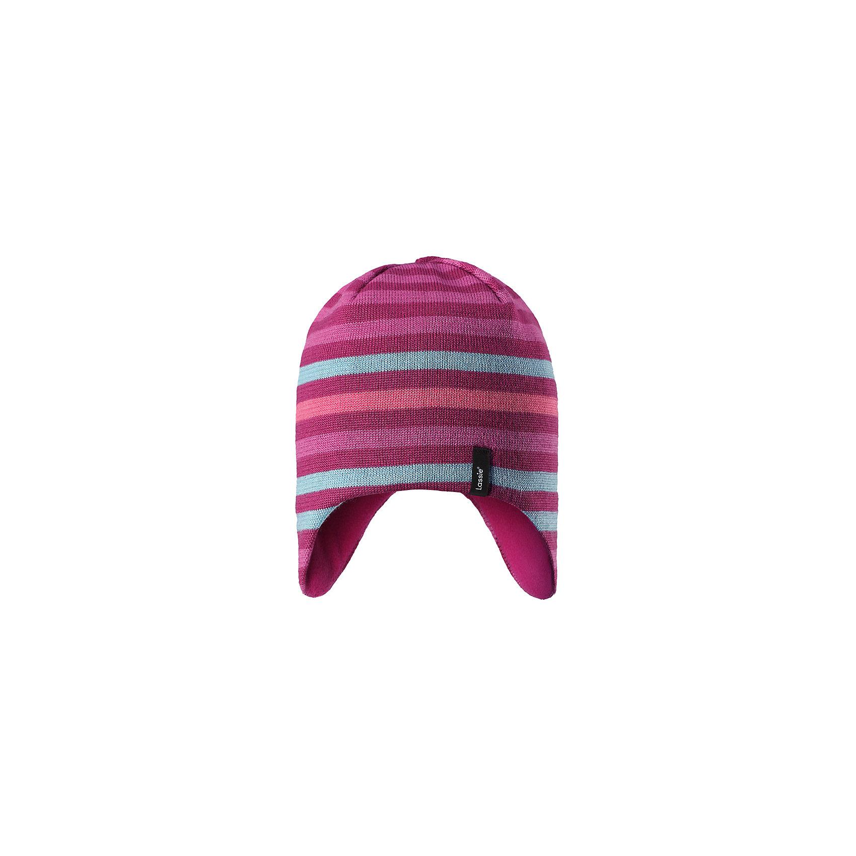 Шапка LassieЗимние<br>Характеристики товара:<br><br>• цвет: розовый;<br>• состав: 50% шерсть, 50% полиакрил;<br>• подкладка: 100% полиэстер, флис;<br>• без утеплителя;<br>• сезон: демисезон;<br>• температурный режим: от +5С;<br>• особенности: шерстяная, вязаная;<br>• мягкая и теплая ткань из смеси шерсти;<br>• ветронепроницаемые вставки в области ушей; <br>• сплошная подкладка: мягкий теплый флис;<br>• светоотражающие детали; <br>• страна бренда: Финляндия;<br>• страна изготовитель: Китай;<br><br>Эта теплая детская шапка в яркую полоску связана из теплой полушерсти и дополнена плотной и мягкой подкладкой из тонкого флиса. Ветронепроницаемые вставки в области ушей обеспечивают дополнительную защиту, а светоотражающая эмблема Lassie® позволяет лучше разглядеть ребенка в темное время суток.<br><br>Шапку Lassie (Ласси) можно купить в нашем интернет-магазине.<br><br>Ширина мм: 89<br>Глубина мм: 117<br>Высота мм: 44<br>Вес г: 155<br>Цвет: розовый<br>Возраст от месяцев: 36<br>Возраст до месяцев: 72<br>Пол: Унисекс<br>Возраст: Детский<br>Размер: 50-52,54-56,46-48<br>SKU: 6928141