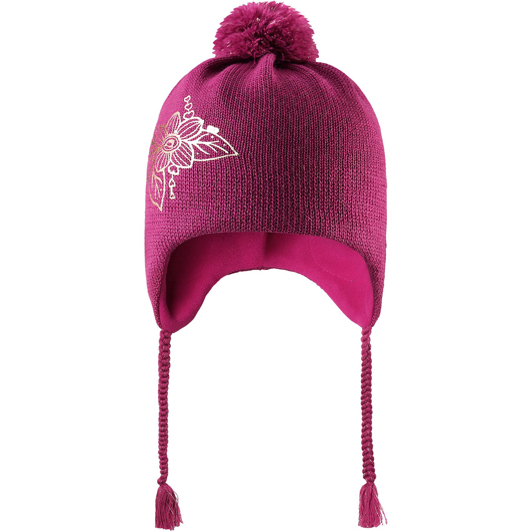 Шапка Lassie для девочкиШапки и шарфы<br>Эта очаровательная детская шапка незаменима в холодные зимние дни! Красивая и гладкая флисовая подкладка очень приятна на ощупь и обеспечивает дополнительное утепление. Ветронепроницаемые вставки в области ушей защищают ушки от холодного ветра, а спереди на шапке размещена светоотражающая эмблема Lassie®. Симпатичный помпон и украшение в виде цветка дополняет образ!<br>Состав:<br>50% Шерсть, 50% Полиакрил<br><br>Ширина мм: 89<br>Глубина мм: 117<br>Высота мм: 44<br>Вес г: 155<br>Цвет: розовый<br>Возраст от месяцев: 72<br>Возраст до месяцев: 144<br>Пол: Женский<br>Возраст: Детский<br>Размер: 54-56,46-48,50-52<br>SKU: 6928165