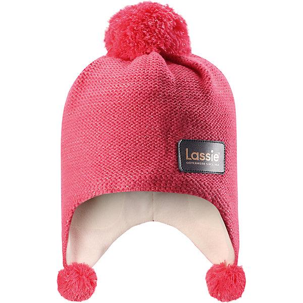 Шапка Lassie для девочкиШапки и шарфы<br>Характеристики товара:<br><br>• цвет: розовый;<br>• состав: 100% полиакрил;<br>• подкладка: 100% полиэстер, флис;<br>• без утеплителя;<br>• сезон: демисезон;<br>• температурный режим: от 0С;<br>• особенности: с помпоном;<br>• мягкий, теплый и приятный на ощупь трикотаж;<br>• ветронепроницаемые вставки в области ушей; <br>• сплошная подкладка: мягкий теплый флис;<br>• светоотражающие детали; <br>• страна бренда: Финляндия;<br>• страна изготовитель: Китай;<br><br>Красивая и стильная шапка для девочек снабжена ветронепроницаемыми вставками в области ушей и светоотражающей эмблемой Lassie® спереди. Шапка связана из теплой полушерсти и подбита быстросохнущей и мягкой флисовой подкладкой. Красивая структурная вязка и помпоны создают стильный образ!<br><br>Шапку Lassie (Ласси) можно купить в нашем интернет-магазине.<br><br>Ширина мм: 89<br>Глубина мм: 117<br>Высота мм: 44<br>Вес г: 155<br>Цвет: розовый<br>Возраст от месяцев: 72<br>Возраст до месяцев: 144<br>Пол: Женский<br>Возраст: Детский<br>Размер: 54-56,46-48,50-52<br>SKU: 6928181