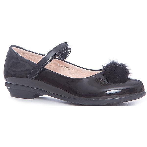 Туфли Vitacci для девочкиНарядная обувь<br>Характеристики товара:<br><br>• цвет: черный;<br>• внешний материал: искусственная кожа;<br>• внутренний материал: натуральная кожа;<br>• стелька: натуральная кожа;<br>• подошва: полимер;<br>• сезон: круглый год;<br>• особенности: нарядные, лакированные, школьные;<br>• застежка: ремешок на липучке;<br>• наличие супинатора;<br>• анатомическая модель;<br>• пушистый помпон спереди;<br>• страна бренда: Италия;<br>• страна производства: Китай.<br><br>Лакированные туфли для девочки. Нарядные туфли застегиваются на ремешок с липучкой, который регулирует обхват по ноге. Спереди туфли декорированы пушистым помпоном из натурального меха. Подходят для сменной обуви в школу.<br><br>Туфли Vitacci (Витачи) можно купить в нашем интернет-магазине.<br>Ширина мм: 227; Глубина мм: 145; Высота мм: 124; Вес г: 325; Цвет: черный; Возраст от месяцев: 156; Возраст до месяцев: 168; Пол: Женский; Возраст: Детский; Размер: 37,36,35,34,33,32; SKU: 6928615;