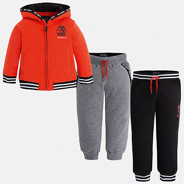 Спортивный костюм для мальчика MayoralКомплекты<br>Характеристики товара:<br><br>• цвет: оранжевый;<br>• состав ткани: 60% хлопок, 40% полиэстер;<br>• комплект: толстовка, брюки - 2 шт.;<br>• сезон: демисезон;<br>• страна бренда: Испания;<br>• страна изготовитель:Китай.<br><br>Спортивный костюм для мальчика от популярного бренда Mayoral. Дополнен дополнительными брюками с манжетами, пояс на шнурке. Толстовка на молнии с аппликацией, с уплотненной резинкой для хорошей фиксации и капюшоном.  Спортивный костюм - отличный выбор для прогулок и активного отдыха, а также для  спортивных занятий в школе.<br><br>В одежде от испанской компании Майорал ребенок будет выглядеть модно, а чувствовать себя - комфортно. <br><br>Спортивный костюм для  мальчика Mayoral (Майорал) можно купить в нашем интернет-магазине.<br><br>Ширина мм: 247<br>Глубина мм: 16<br>Высота мм: 140<br>Вес г: 225<br>Цвет: оранжевый<br>Возраст от месяцев: 18<br>Возраст до месяцев: 24<br>Пол: Мужской<br>Возраст: Детский<br>Размер: 92,134,128,122,116,110,104,98<br>SKU: 6931591