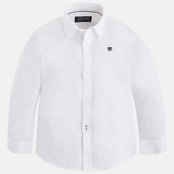Рубашка Mayoral для мальчикаБлузки и рубашки<br>Характеристики товара:<br><br>• цвет: белый;<br>• состав ткани: 100% хлопок;<br>• длинный рукав;<br>• однотонная;<br>• школа;<br>• сезон: круглый год;<br>• страна бренда: Испания;<br>• страна изготовитель: Индия.<br><br>Рубашка для мальчика от популярного бренда Mayoral из натурального 100% хлопка, декорирована вышивкой в виде логотипа на груди. Очень практичная и долгая в носке, цвет нетускнеет. Рубашку можно  комбинировать как с брюками так и с джинсами, смотрится аккуратно и стильно.<br><br>Для производства детской одежды популярный бренд Mayoral используют только качественную фурнитуру и материалы. Оригинальные и модные вещи от Майорал неизменно привлекают внимание и нравятся детям.<br><br>Рубашку  для мальчика Mayoral (Майорал) можно купить в нашем интернет-магазине.<br><br>Ширина мм: 174<br>Глубина мм: 10<br>Высота мм: 169<br>Вес г: 157<br>Цвет: белый<br>Возраст от месяцев: 18<br>Возраст до месяцев: 24<br>Пол: Мужской<br>Возраст: Детский<br>Размер: 92,134,128,122,116,110,104,98<br>SKU: 6931670