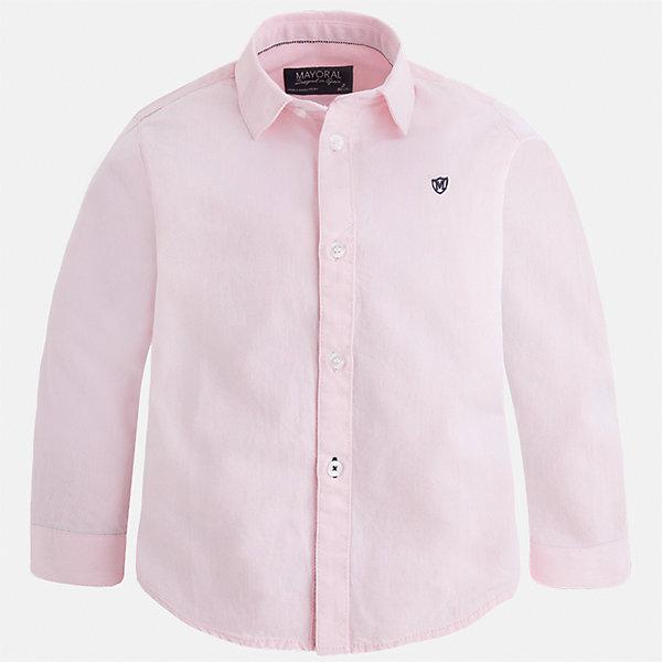 Рубашка для мальчика MayoralБлузки и рубашки<br>Характеристики товара:<br><br>• цвет: розровый;<br>• состав ткани: 100% хлопок;<br>• длинный рукав;<br>• рисунок: принт;<br>• сезон: круглый год;<br>• страна бренда: Испания;<br>• страна изготовитель: Индия.<br><br>Рубашка для мальчика от популярного бренда Mayoral из натурального 100% хлопка, декорирована вышивкой в виде логотипа на груди. Очень практичная и долгая в носке, цвет нетускнеет. Рубашку можно  комбинировать как с брюками так и с джинсами, смотрится аккуратно и стильно.<br><br>Для производства детской одежды популярный бренд Mayoral используют только качественную фурнитуру и материалы. Оригинальные и модные вещи от Майорал неизменно привлекают внимание и нравятся детям.<br><br>Рубашку  для мальчика Mayoral (Майорал) можно купить в нашем интернет-магазине.<br>Ширина мм: 174; Глубина мм: 10; Высота мм: 169; Вес г: 157; Цвет: розовый; Возраст от месяцев: 18; Возраст до месяцев: 24; Пол: Мужской; Возраст: Детский; Размер: 98,134,128,122,116,110,92,104; SKU: 6931688;