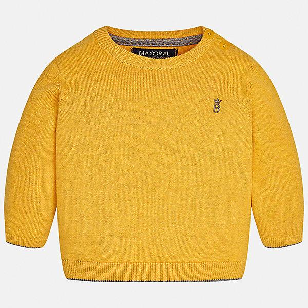 Свитер Mayoral для мальчикаСвитера и кардиганы<br>Характеристики товара:<br><br>• цвет: желтый;<br>• состав ткани: 100% хлопок;<br>• длинный рукав - реглан;<br>• однотонный;<br>• сезон: демисезон;<br>• страна бренда: Испания;<br>• страна изготовитель: Бангладеш.<br><br>Свитер для мальчика от популярного бренда Mayoral из натурально и мягкого 100% хлопка тонкой вязки, декорирован принтом в виде логотипа с вышивкой. Имеет круглый вырез и уплотненные края на руковах и поясе. Очень практичный и долгий в носке, цвет нетускнеет, смотрится аккуратно и стильно.<br><br>Для производства детской одежды популярный бренд Mayoral используют только качественную фурнитуру и материалы. Оригинальные и модные вещи от Майорал неизменно привлекают внимание и нравятся детям.<br><br>Свитер для мальчика Mayoral (Майорал) можно купить в нашем интернет-магазине.<br>Ширина мм: 190; Глубина мм: 74; Высота мм: 229; Вес г: 236; Цвет: желтый; Возраст от месяцев: 6; Возраст до месяцев: 9; Пол: Мужской; Возраст: Детский; Размер: 74,80,98,86,92; SKU: 6931769;