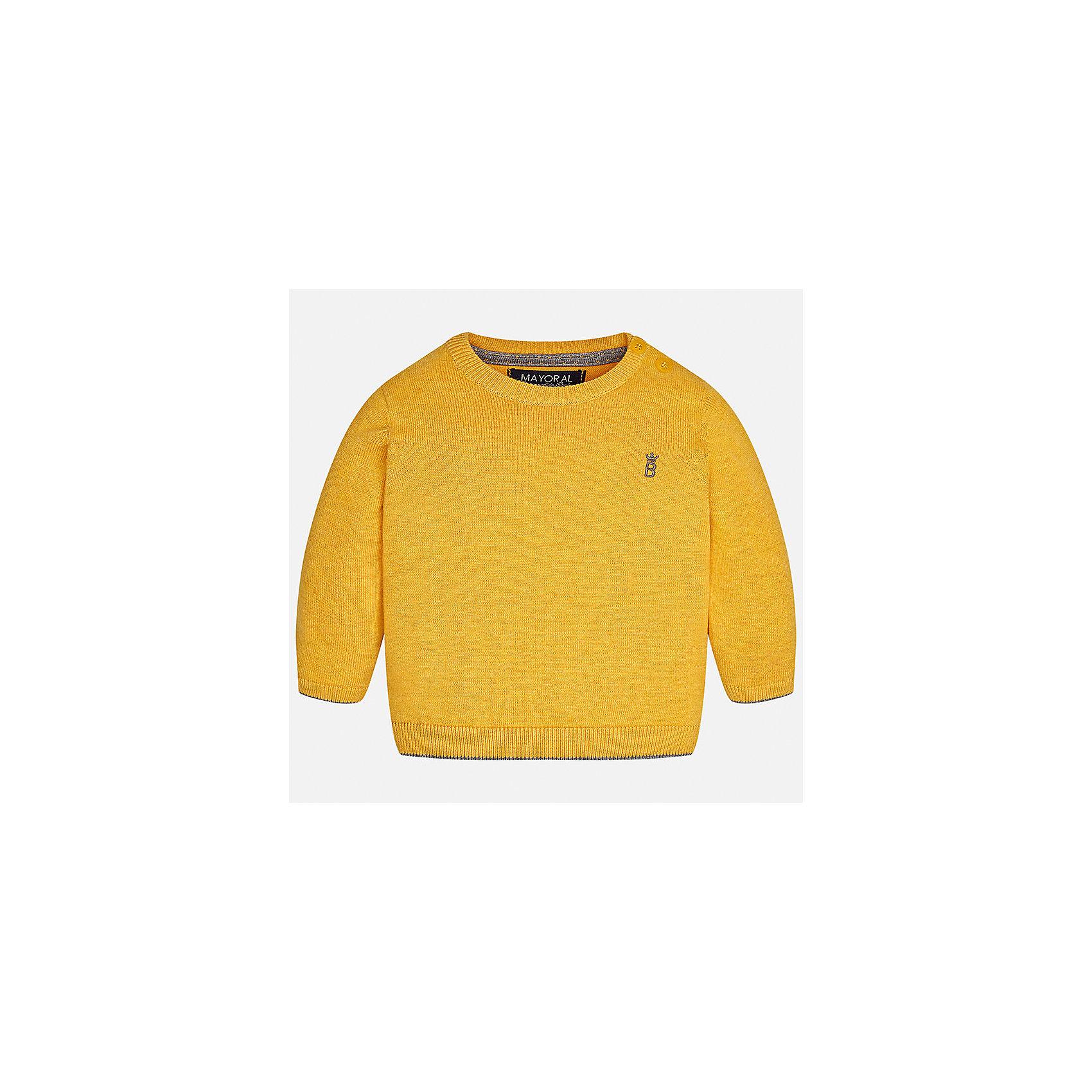 Свитер Mayoral для мальчикаСвитера и кардиганы<br>Характеристики товара:<br><br>• цвет: желтый;<br>• состав ткани: 100% хлопок;<br>• длинный рукав - реглан;<br>• однотонный;<br>• сезон: демисезон;<br>• страна бренда: Испания;<br>• страна изготовитель: Бангладеш.<br><br>Свитер для мальчика от популярного бренда Mayoral из натурально и мягкого 100% хлопка тонкой вязки, декорирован принтом в виде логотипа с вышивкой. Имеет круглый вырез и уплотненные края на руковах и поясе. Очень практичный и долгий в носке, цвет нетускнеет, смотрится аккуратно и стильно.<br><br>Для производства детской одежды популярный бренд Mayoral используют только качественную фурнитуру и материалы. Оригинальные и модные вещи от Майорал неизменно привлекают внимание и нравятся детям.<br><br>Свитер для мальчика Mayoral (Майорал) можно купить в нашем интернет-магазине.<br><br>Ширина мм: 190<br>Глубина мм: 74<br>Высота мм: 229<br>Вес г: 236<br>Цвет: оранжевый<br>Возраст от месяцев: 24<br>Возраст до месяцев: 36<br>Пол: Мужской<br>Возраст: Детский<br>Размер: 98,74,80,86,92<br>SKU: 6931769