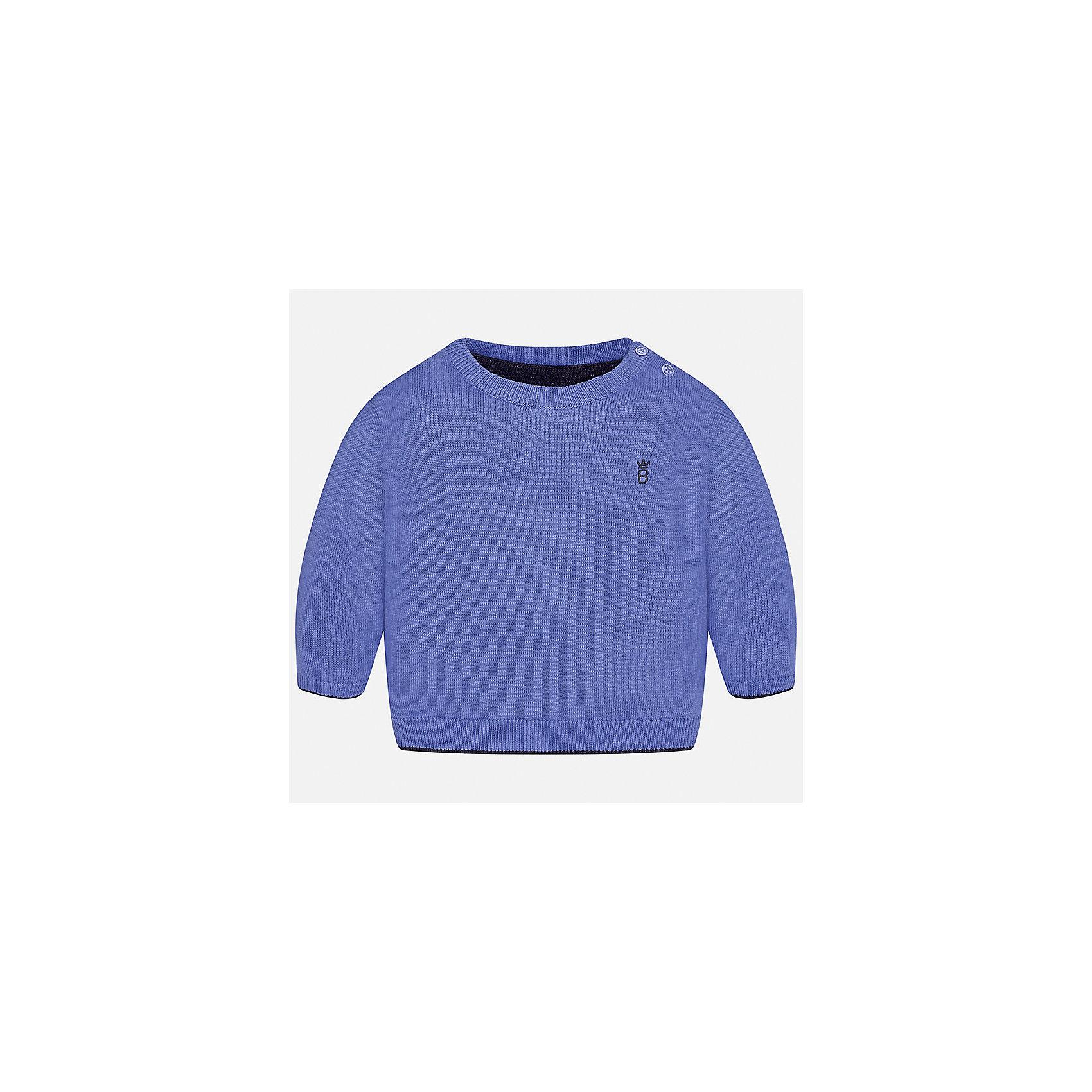 Свитер Mayoral для мальчикаСвитера и кардиганы<br>Характеристики товара:<br><br>• цвет: голубой;<br>• состав ткани: 100% хлопок;<br>• длинный рукав - реглан;<br>• однотонный;<br>• школьный;<br>• сезон: демисезон;<br>• страна бренда: Испания;<br>• страна изготовитель: Бангладеш.<br><br>Однотонный свитер для мальчика от популярного бренда Mayoral из натурально и мягкого 100% хлопка тонкой вязки, декорирован маленьким принтом в виде логотипа с вышивкой. Имеет круглый вырез и уплотненные края на руковах и поясе. Очень практичный и долгий в носке, цвет нетускнеет, смотрится аккуратно и стильно как с джинсами, так и в сочетании со школьной формой.<br><br>Для производства детской одежды популярный бренд Mayoral используют только качественную фурнитуру и материалы. Оригинальные и модные вещи от Майорал неизменно привлекают внимание и нравятся детям.<br><br>Свитер для мальчика Mayoral (Майорал) можно купить в нашем интернет-магазине.<br><br>Ширина мм: 190<br>Глубина мм: 74<br>Высота мм: 229<br>Вес г: 236<br>Цвет: лиловый<br>Возраст от месяцев: 24<br>Возраст до месяцев: 36<br>Пол: Мужской<br>Возраст: Детский<br>Размер: 98,74,80,86,92<br>SKU: 6931781