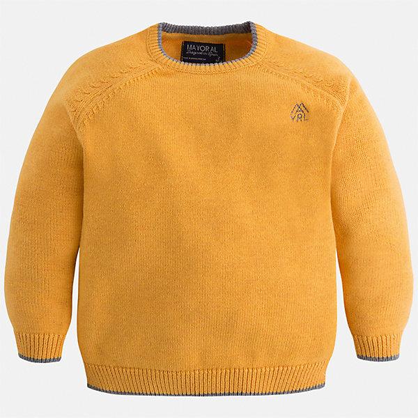 Свитер для мальчика MayoralСвитера и кардиганы<br>Характеристики товара:<br><br>• цвет: желтый;<br>• состав ткани: 60% хлопок, 30% полиамид, 10% шерсть;<br>• длинный рукав;<br>• однотонный;<br>• сезон: демисезон;<br>• страна бренда: Испания;<br>• страна изготовитель: Бангладеш.<br><br>Свитер для мальчика от популярного бренда Mayoral из натурально и мягкого 100% хлопка тонкой вязки с добавлением шерсти, декорирован принтом в виде логотипа с вышивкой. Имеет круглый вырез и уплотненные края на руковах и поясе  с контрастной  оконтовкой. Очень практичный и долгий в носке, цвет нетускнеет, смотрится аккуратно и стильно.<br><br>Для производства детской одежды популярный бренд Mayoral используют только качественную фурнитуру и материалы. Оригинальные и модные вещи от Майорал неизменно привлекают внимание и нравятся детям.<br><br>Свитер для мальчика Mayoral (Майорал) можно купить в нашем интернет-магазине.<br>Ширина мм: 190; Глубина мм: 74; Высота мм: 229; Вес г: 236; Цвет: желтый; Возраст от месяцев: 18; Возраст до месяцев: 24; Пол: Мужской; Возраст: Детский; Размер: 92,134,128,122,116,110,104,98; SKU: 6931787;