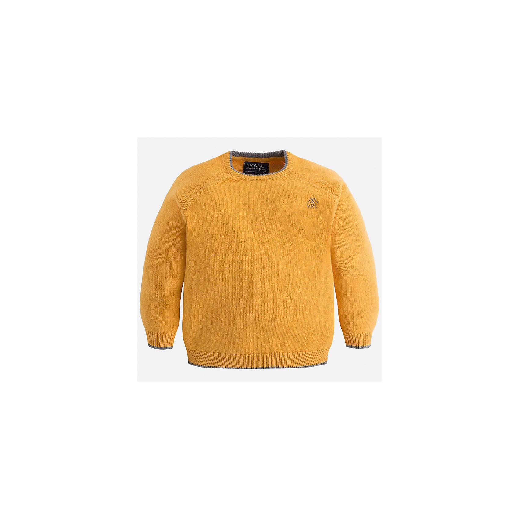 Свитер для мальчика MayoralСвитера и кардиганы<br>Характеристики товара:<br><br>• цвет: желтый;<br>• состав ткани: 60% хлопок, 30% полиамид, 10% шерсть;<br>• длинный рукав;<br>• однотонный;<br>• сезон: демисезон;<br>• страна бренда: Испания;<br>• страна изготовитель: Бангладеш.<br><br>Свитер для мальчика от популярного бренда Mayoral из натурально и мягкого 100% хлопка тонкой вязки с добавлением шерсти, декорирован принтом в виде логотипа с вышивкой. Имеет круглый вырез и уплотненные края на руковах и поясе  с контрастной  оконтовкой. Очень практичный и долгий в носке, цвет нетускнеет, смотрится аккуратно и стильно.<br><br>Для производства детской одежды популярный бренд Mayoral используют только качественную фурнитуру и материалы. Оригинальные и модные вещи от Майорал неизменно привлекают внимание и нравятся детям.<br><br>Свитер для мальчика Mayoral (Майорал) можно купить в нашем интернет-магазине.<br><br>Ширина мм: 190<br>Глубина мм: 74<br>Высота мм: 229<br>Вес г: 236<br>Цвет: оранжевый<br>Возраст от месяцев: 96<br>Возраст до месяцев: 108<br>Пол: Мужской<br>Возраст: Детский<br>Размер: 134,92,98,104,110,116,122,128<br>SKU: 6931787