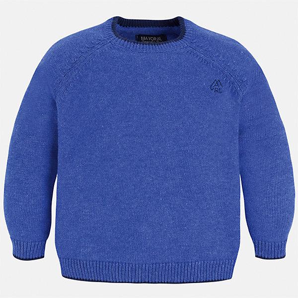 Свитер Mayoral для мальчикаСвитера и кардиганы<br>Характеристики товара:<br><br>• цвет: голубой;<br>• состав ткани: 60% хлопок, 30% полиамид, 10% шерсть;<br>• длинный рукав - реглан;<br>• однотонный;<br>• школьный;<br>• сезон: демисезон;<br>• страна бренда: Испания;<br>• страна изготовитель: Бангладеш.<br><br>Однотонный свитер для мальчика от популярного бренда Mayoral из натурально и мягкого 100% хлопка тонкой вязки, декорирован маленьким принтом в виде логотипа с вышивкой. Имеет круглый вырез и уплотненные края на руковах и поясе. Очень практичный и долгий в носке, цвет нетускнеет, смотрится аккуратно и стильно как с джинсами, так и в сочетании со школьной формой.<br><br>Для производства детской одежды популярный бренд Mayoral используют только качественную фурнитуру и материалы. Оригинальные и модные вещи от Майорал неизменно привлекают внимание и нравятся детям.<br><br>Свитер для мальчика Mayoral (Майорал) можно купить в нашем интернет-магазине.<br>Ширина мм: 190; Глубина мм: 74; Высота мм: 229; Вес г: 236; Цвет: лиловый; Возраст от месяцев: 36; Возраст до месяцев: 48; Пол: Мужской; Возраст: Детский; Размер: 104,134,92,98,110,116,122,128; SKU: 6931796;