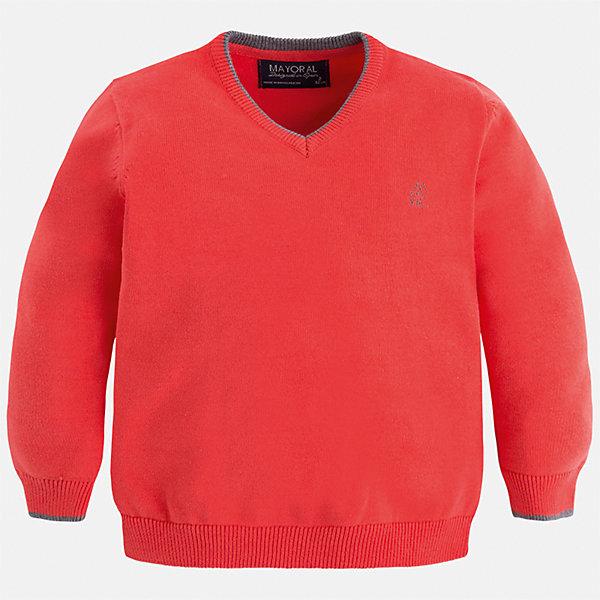 Свитер Mayoral для мальчикаСвитера и кардиганы<br>Характеристики товара:<br><br>• цвет: красный;<br>• состав ткани: 100% хлопок;<br>• длинный рукав - реглан;<br>• однотонный;<br>• сезон: демисезон;<br>• страна бренда: Испания;<br>• страна изготовитель: Бангладеш.<br><br>Свитер для мальчика от популярного бренда Mayoral из натурального и мягкого 100% хлопка тонкой вязки, декорирован принтом в виде логотипа с вышивкой на груди. Имеет V-образный вырез и уплотненные края на руковах и поясе  с контрастной  оконтовкой. <br><br>Данная модель свитера очень практичный и универсальный вариант для повседневной одежды, комбинируемый со множеством вариантов, цвет нетускнеет, смотрится аккуратно и стильно.  <br><br>Для производства детской одежды популярный бренд Mayoral используют только качественную фурнитуру и материалы. Оригинальные и модные вещи от Майорал неизменно привлекают внимание и нравятся детям.<br><br>Свитер для мальчика Mayoral (Майорал) можно купить в нашем интернет-магазине.<br><br>Ширина мм: 190<br>Глубина мм: 74<br>Высота мм: 229<br>Вес г: 236<br>Цвет: красный<br>Возраст от месяцев: 18<br>Возраст до месяцев: 24<br>Пол: Мужской<br>Возраст: Детский<br>Размер: 92,134,128,122,116,110,104,98<br>SKU: 6931832