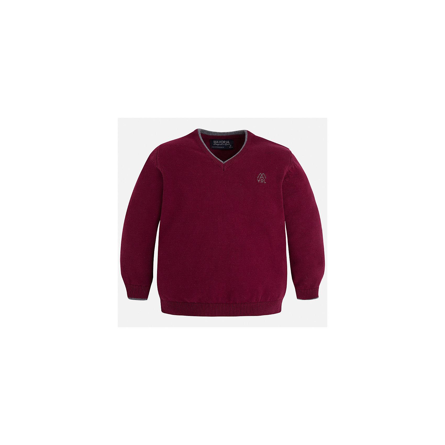 Свитер Mayoral для мальчикаСвитера и кардиганы<br>Характеристики товара:<br><br>• цвет: бордовый;<br>• состав ткани: 100% хлопок;<br>• сезон: демисезон;<br>• длинный рукав - реглан;<br>• однотонный;<br>• школьный;<br>• страна бренда: Испания;<br>• страна изготовитель: Бангладеш.<br><br>Свитер для мальчика от популярного бренда Mayoral из натурального и мягкого 100% хлопка тонкой вязки, декорирован принтом в виде логотипа с вышивкой на груди. Имеет V-образный вырез и уплотненные края на руковах и поясе  с контрастной  оконтовкой. Модель смотрится аккуратно и стильно как с джинсами, так и в сочетании со школьной формой.<br><br>Для производства детской одежды популярный бренд Mayoral используют только качественную фурнитуру и материалы. Оригинальные и модные вещи от Майорал неизменно привлекают внимание и нравятся детям.<br><br>Свитер для мальчика Mayoral (Майорал) можно купить в нашем интернет-магазине.G45<br><br>Ширина мм: 190<br>Глубина мм: 74<br>Высота мм: 229<br>Вес г: 236<br>Цвет: бордовый<br>Возраст от месяцев: 96<br>Возраст до месяцев: 108<br>Пол: Мужской<br>Возраст: Детский<br>Размер: 134,92,98,104,110,116,122,128<br>SKU: 6931850