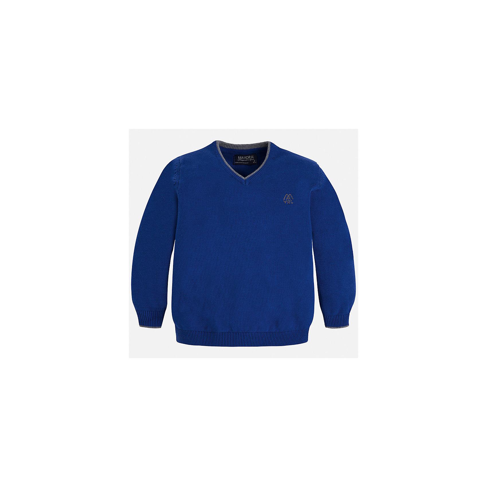 Свитер Mayoral для мальчикаСвитера и кардиганы<br>Характеристики товара:<br><br>• цвет: синий;<br>• состав ткани: 100% хлопок;<br>• сезон: демисезон;<br>• длинный рукав - реглан;<br>• однотонный;<br>• школьный;<br>• страна бренда: Испания;<br>• страна изготовитель: Бангладеш.<br><br>Свитер для мальчика от популярного бренда Mayoral из натурального и мягкого 100% хлопка тонкой вязки, декорирован принтом в виде логотипа с вышивкой на груди. Имеет V-образный вырез и уплотненные края на руковах и поясе  с контрастной  оконтовкой. Модель смотрится аккуратно и стильно как с джинсами, так и в сочетании со школьной формой.<br><br>Для производства детской одежды популярный бренд Mayoral используют только качественную фурнитуру и материалы. Оригинальные и модные вещи от Майорал неизменно привлекают внимание и нравятся детям.<br><br>Свитер для мальчика Mayoral (Майорал) можно купить в нашем интернет-магазине.<br><br>Ширина мм: 190<br>Глубина мм: 74<br>Высота мм: 229<br>Вес г: 236<br>Цвет: синий<br>Возраст от месяцев: 96<br>Возраст до месяцев: 108<br>Пол: Мужской<br>Возраст: Детский<br>Размер: 134,92,98,104,110,116,122,128<br>SKU: 6931859