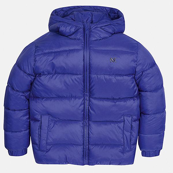 Куртка Mayoral для мальчикаВерхняя одежда<br>Характеристики товара:<br><br>• цвет: синий;<br>• сезон: демисезон;<br>• состав ткани: 100% полиэстер;<br>• состав подкладки: 100% полиэстер;<br>• стеганая;<br>• капюшон: без меха, не отстегивается;<br>• страна бренда: Испания;<br>• страна изготовитель: Бангладеш.<br><br>Демисезонная куртка для мальчика от популярного бренда Mayoral несомненно понравится вам и вашему ребенку. Качественные ткани, безупречное исполнение, все модели в центре модных тенденций. Внешняя ткань плащевая, подкладка из флиса, аккуратные швы. Рукава на внутренней манжете. Застегивается на замок-молнию, капюшон не отстегивается. <br><br>Легкая и теплая куртка с капюшоном и карманами на холодную осень-весну. Грамотный крой изделия обеспечивает отличную посадку по фигуре.<br><br>Куртку  для мальчика Mayoral (Майорал) можно купить в нашем интернет-магазине.<br>Ширина мм: 356; Глубина мм: 10; Высота мм: 245; Вес г: 519; Цвет: синий; Возраст от месяцев: 96; Возраст до месяцев: 108; Пол: Мужской; Возраст: Детский; Размер: 128/134,170,164,158,152,140; SKU: 6931936;