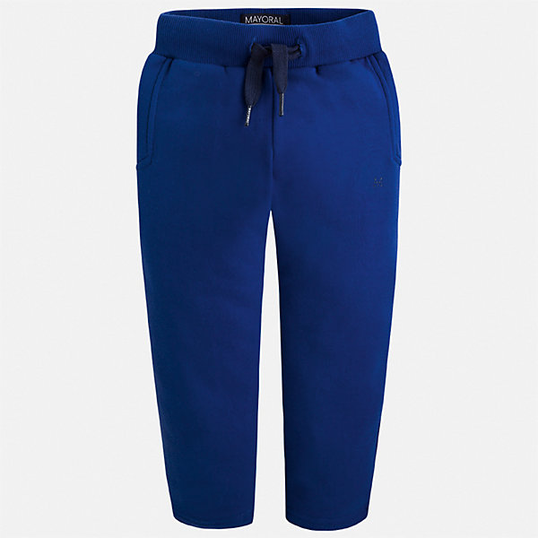 Брюки для мальчика MayoralБрюки<br>Характеристики товара:<br><br>• цвет: синий;<br>• состав ткани:62% полиэстер, 34% хлопок, 4% эластан;<br>• спортивный стиль;<br>• регулируемая талия;<br>• сезон: демисезон;<br>• страна бренда: Испания;<br>• страна изготовитель: Камбоджа.<br><br>Спортивные брюки для мальчика от популярного бренда Mayoral - базовая спортивная вещь для детского гардероба. Трикотажные брюки с незначительным начесом,  прямого классического кроя отлично комбинируются с любой спортивной одеждой и обувью - майки, футболки, толстовки, кроссовки, кеды. <br><br>Свободный крой, пояс на шнурке, яркий цвет и приятная на ощупь ткань, обеспечивающая воздухопроницаемость - спортивные брюки идеально подходят для прогулок, активного отдыха и занятий спортом. <br><br>Спортивные брюки  для  мальчика Mayoral (Майорал) можно купить в нашем интернет-магазине.<br>Ширина мм: 215; Глубина мм: 88; Высота мм: 191; Вес г: 336; Цвет: синий; Возраст от месяцев: 96; Возраст до месяцев: 108; Пол: Мужской; Возраст: Детский; Размер: 134,92,98,104,110,116,122,128; SKU: 6932124;