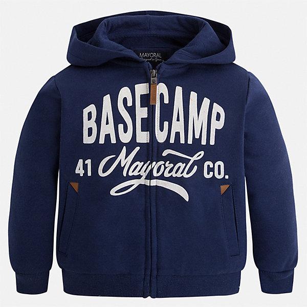 Куртка для мальчика MayoralВетровки и жакеты<br>Характеристики товара:<br><br>• цвет: темно-синий;<br>• состав ткани:65% полиэстер, 35% хлопок;<br>• спортивный стиль;<br>• с капюшоном;<br>• аппликация спереди;<br>• сезон: демисезон;<br>• страна бренда: Испания;<br>• страна изготовитель: Китай.<br><br>Толстовка на молнии для мальчика от популярного бренда Mayoral, теплая толстовка из плотного трикотажа отлично комбинируется с любой спортивной одеждой и обувью, а также стильно смотрится с джинсами. <br><br>Яркая зеленая толстовка на молнии с аппликацией и карманами спереди,  пояс и рукава на манжете, приятная на ощупь ткань, обеспечивающая тепло и воздухопроницаемость  идеально подходит для прогулок, активного отдыха и занятий спортом. <br><br>Толстовка на молнии  для  мальчика Mayoral (Майорал) можно купить в нашем интернет-магазине.<br>Ширина мм: 356; Глубина мм: 10; Высота мм: 245; Вес г: 519; Цвет: темно-синий; Возраст от месяцев: 36; Возраст до месяцев: 48; Пол: Мужской; Возраст: Детский; Размер: 104,134,128,122,116,110; SKU: 6932221;