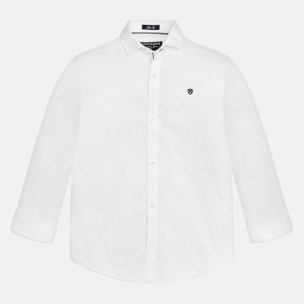 Рубашка Mayoral для мальчикаБлузки и рубашки<br>Характеристики товара:<br><br>• цвет: белый;<br>• состав ткани: 100% хлопок;<br>• длинный рукав;<br>• однотонная;<br>• сезон: круглый год;<br>•  школьная;<br>• страна бренда: Испания;<br>• страна изготовитель: Индия.<br><br>Рубашка для мальчика от популярного бренда Mayoral из натурального 100% хлопка, декорирована вышивкой в виде логотипа на груди. Очень практичная и долгая в носке, цвет нетускнеет. Благодаря акктуальною крою slim fit (немного зауженной к низу), можно носить как заправленную в брюки, так и на выпуск, смотрится аккуратно и стильно. <br><br>Для производства детской одежды популярный бренд Mayoral используют только качественную фурнитуру и материалы. Оригинальные и модные вещи от Майорал неизменно привлекают внимание и нравятся детям.<br><br>Рубашку  для мальчика Mayoral (Майорал) можно купить в нашем интернет-магазине.<br><br>Ширина мм: 174<br>Глубина мм: 10<br>Высота мм: 169<br>Вес г: 157<br>Цвет: белый<br>Возраст от месяцев: 96<br>Возраст до месяцев: 108<br>Пол: Мужской<br>Возраст: Детский<br>Размер: 128/134,170,164,158,152,140<br>SKU: 6932258