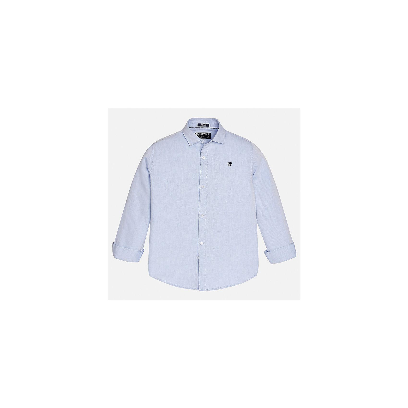 Рубашка для мальчика MayoralБлузки и рубашки<br>Характеристики товара:<br><br>• цвет: голубой;<br>• состав ткани: 100% хлопок;<br>• длинный рукав;<br>• однотонная<br>• сезон: круглый год;<br>•  школьная;<br>• страна бренда: Испания;<br>• страна изготовитель: Индия.<br><br>Рубашка для мальчика от популярного бренда Mayoral из натурального 100% хлопка, декорирована вышивкой в виде логотипа на груди. Очень практичная и долгая в носке, цвет нетускнеет. Благодаря акктуальною крою slim fit (немного зауженной к низу), можно носить как заправленную в брюки, так и на выпуск, смотрится аккуратно и стильно. <br><br>Для производства детской одежды популярный бренд Mayoral используют только качественную фурнитуру и материалы. Оригинальные и модные вещи от Майорал неизменно привлекают внимание и нравятся детям.<br><br>Рубашку  для мальчика Mayoral (Майорал) можно купить в нашем интернет-магазине.<br><br>Ширина мм: 174<br>Глубина мм: 10<br>Высота мм: 169<br>Вес г: 157<br>Цвет: голубой<br>Возраст от месяцев: 168<br>Возраст до месяцев: 180<br>Пол: Мужской<br>Возраст: Детский<br>Размер: 170,128/134,140,152,158,164<br>SKU: 6932265