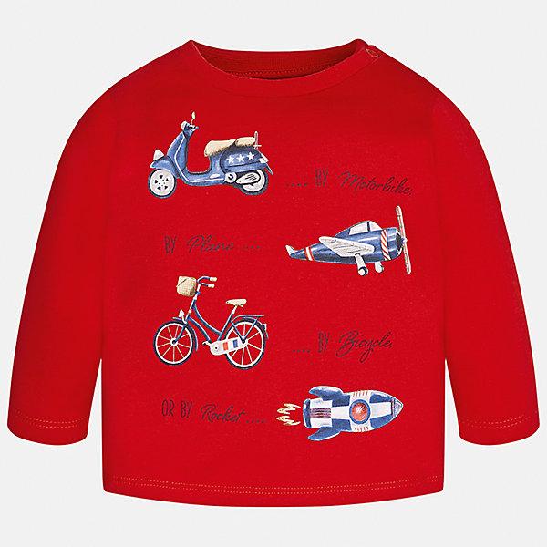 Футболка с длинным рукавом Mayoral для мальчикаФутболки с длинным рукавом<br>Характеристики товара:<br><br>• цвет: красный;<br>• состав ткани: 100% хлопок;<br>• длинный рукав;<br>• рисунок: принт;<br>• кнопка на воротнике;<br>• сезон: демисезон;<br>• страна бренда: Испания;<br>• страна изготовитель: Бангладеш.<br><br>Лонгслив для мальчика от популярного бренда Mayoral, ткань из натурального и эластичного 100% хлопка, приятная на ощупь. Модель декорирована принтом с изображением средств передвижения в стиле ретро. Имеет круглый вырез.<br><br>Стильный лонгслив красного цвета дополнен кнопками на плече для удобства переодевания малыша.  Очень практичный и долгий в носке, цвет не тускнеет, смотрится аккуратно и стильно. Лонгслив идеально подходит для повседневной одежды как дома, так и на прогулку.<br><br>Для производства детской одежды популярный бренд Mayoral используют только качественную фурнитуру и материалы. Оригинальные и модные вещи от Майорал неизменно привлекают внимание и нравятся детям.<br><br>Лонгслив для мальчика Mayoral (Майорал) можно купить в нашем интернет-магазине.<br>Ширина мм: 230; Глубина мм: 40; Высота мм: 220; Вес г: 250; Цвет: красный; Возраст от месяцев: 6; Возраст до месяцев: 9; Пол: Мужской; Возраст: Детский; Размер: 74,98,80,86,92; SKU: 6932290;