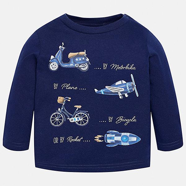 Футболка с длинным рукавом для мальчика MayoralФутболки, топы<br>Характеристики товара:<br><br>• цвет: синий;<br>• состав ткани: 100% хлопок;<br>• длинный рукав;<br>• рисунок: принт;<br>• кнопка на воротнике;<br>• сезон: демисезон;<br>• страна бренда: Испания;<br>• страна изготовитель: Бангладеш.<br><br>Лонгслив для мальчика от популярного бренда Mayoral, ткань из натурального и эластичного 100% хлопка, приятная на ощупь. Модель декорирована принтом с изображением средств передвижения в стиле ретро. Имеет круглый вырез.<br><br>Стильный лонгслив красного цвета дополнен кнопками на плече для удобства переодевания малыша.  Очень практичный и долгий в носке, цвет не тускнеет, смотрится аккуратно и стильно. Лонгслив идеально подходит для повседневной одежды как дома, так и на прогулку.<br><br>Для производства детской одежды популярный бренд Mayoral используют только качественную фурнитуру и материалы. Оригинальные и модные вещи от Майорал неизменно привлекают внимание и нравятся детям.<br><br>Лонгслив для мальчика Mayoral (Майорал) можно купить в нашем интернет-магазине.<br><br>Ширина мм: 230<br>Глубина мм: 40<br>Высота мм: 220<br>Вес г: 250<br>Цвет: синий<br>Возраст от месяцев: 6<br>Возраст до месяцев: 9<br>Пол: Мужской<br>Возраст: Детский<br>Размер: 74,98,92,86,80<br>SKU: 6932296