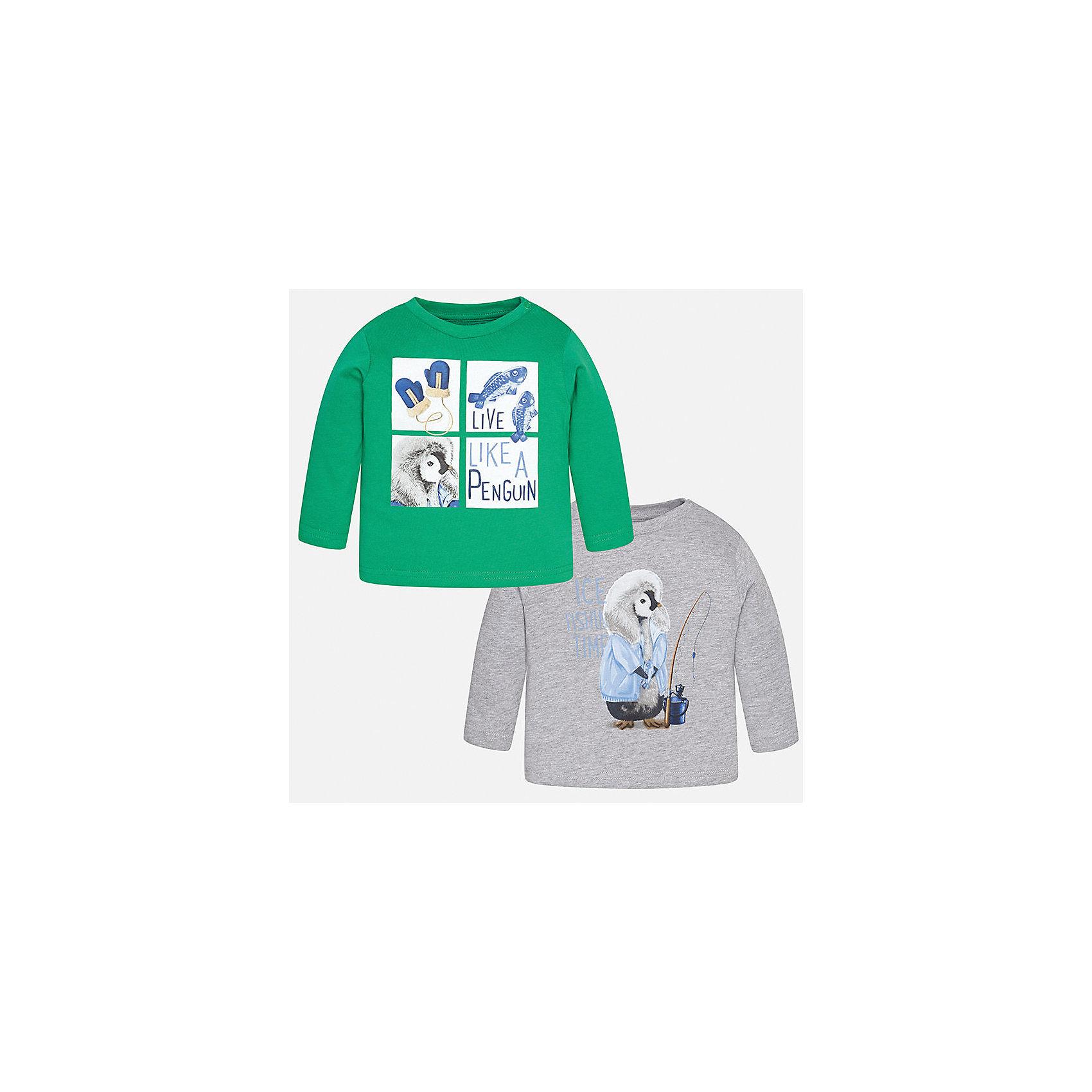 Футболка с длинным рукавом (2 шт.) для мальчика MayoralФутболки, топы<br>Характеристики товара:<br><br>• цвет: зеленый/серый;<br>• комплект: 2 шт.;<br>• состав ткани: 100% хлопок;<br>• длинный рукав;<br>• рисунок: принт;<br>• кнопка на воротнике;<br>• сезон: демисезон;<br>• страна бренда: Испания;<br>• страна изготовитель: Индия.<br><br>Комплект из двух футболок с длинным рукавом для мальчика от популярного бренда Mayoral  выполнен из натурального хлопка, ткань эластичная и приятная на ощупь. Однотонные модели декорированы принтом с изображением милых и забавных пингвинов, имеют круглый вырез и кнопки по плечевому шву для удобства переодевания малыша.  <br><br>Обе модели очень практичны и долги в носке, цвет не тускнеет, смотрятся аккуратно и стильно. Идеально подходит для повседневной одежды как дома, так и на прогулку.<br><br>Для производства детской одежды популярный бренд Mayoral используют только качественную фурнитуру и материалы. Оригинальные и модные вещи от Майорал неизменно привлекают внимание и нравятся детям.<br><br>Комплект из двух футболок с длинным рукавом для мальчика Mayoral (Майорал) можно купить в нашем интернет-магазине.<br><br>Ширина мм: 230<br>Глубина мм: 40<br>Высота мм: 220<br>Вес г: 250<br>Цвет: зеленый<br>Возраст от месяцев: 24<br>Возраст до месяцев: 36<br>Пол: Мужской<br>Возраст: Детский<br>Размер: 98,74,80,86,92<br>SKU: 6932368