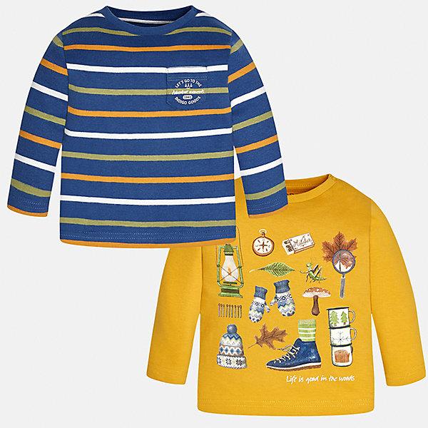 Футболка с длинным рукавом (2 шт.) Mayoral для мальчикаФутболки с длинным рукавом<br>Характеристики товара:<br><br>• цвет: желтый/синий;<br>• комплект: 2 шт.;<br>• состав ткани: 100% хлопок;<br>• длинный рукав;<br>• рисунок: принт;<br>• кнопка на воротнике;<br>• сезон: демисезон;<br>• страна бренда: Испания;<br>• страна изготовитель: Индия.<br><br>Комплект из двух футболок с длинным рукавом для мальчика от популярного бренда Mayoral  выполнен из натурального хлопка, ткань эластичная и приятная на ощупь. Жёлтая модель декорирована оригинальным принтом, модель в контрастную полоску дополнена нагрудным кармашком. Обе модели имеют круглый вырез и кнопки по плечевому шву для удобства переодевания малыша.  <br><br>Комплект очень практичен и долгий в носке, цвет не тускнеет, смотрятся аккуратно и стильно. Идеально подходит для повседневной одежды как дома, так и на прогулку.<br><br>Для производства детской одежды популярный бренд Mayoral используют только качественную фурнитуру и материалы. Оригинальные и модные вещи от Майорал неизменно привлекают внимание и нравятся детям.<br><br>Ширина мм: 230<br>Глубина мм: 40<br>Высота мм: 220<br>Вес г: 250<br>Цвет: желтый<br>Возраст от месяцев: 12<br>Возраст до месяцев: 15<br>Пол: Мужской<br>Возраст: Детский<br>Размер: 80,74,98,92,86<br>SKU: 6932422