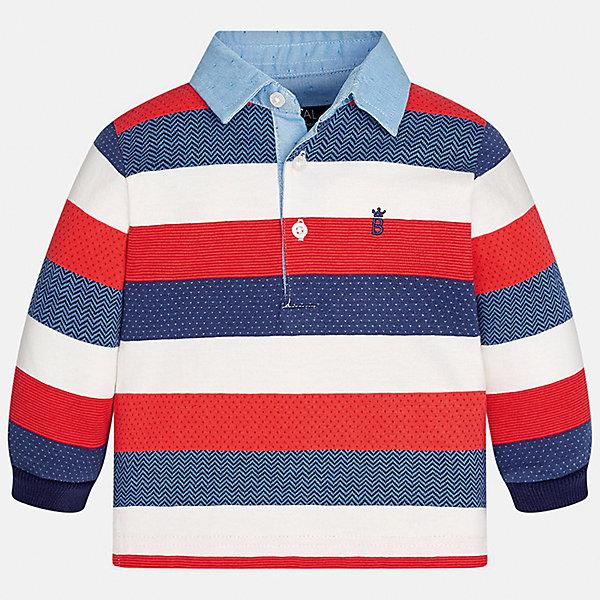 Футболка-поло с длинным рукавом для мальчика MayoralФутболки, топы<br>Характеристики товара:<br><br>• цвет: красный в полоску;<br>• состав ткани: 89% хлопок, 11% полиэстер;<br>• длинный рукав;<br>• вышивка на груди;<br>• воротник на пуговицах;<br>• сезон: демисезон;<br>• страна бренда: Испания;<br>• страна изготовитель: Индия.<br><br>Рубашка-поло с длинными рукавами для мальчика от популярного бренда Mayoral  выполнена из натурального хлопка с незначительным добавление полиэстра, ткань эластичная и приятная на ощупь. Модель белого цвета в сине-красную полоску декорирована маленьким принтом  виде вышивки на груди и голубым воротничком на пуговицах. <br><br>Рубашка-поло в контрастную полоску будет смотрется нарядно, аккуратно и стильно. Идеально подойдет для повседневной одежды  для дома, сада, улицы и школы.<br><br>Для производства детской одежды популярный бренд Mayoral используют только качественную фурнитуру и материалы. Оригинальные и модные вещи от Майорал неизменно привлекают внимание и нравятся детям.<br><br>Рубашка-поло с длинными рукавами для мальчика Mayoral (Майорал) можно купить в нашем интернет-магазине.<br><br>Ширина мм: 230<br>Глубина мм: 40<br>Высота мм: 220<br>Вес г: 250<br>Цвет: красный<br>Возраст от месяцев: 6<br>Возраст до месяцев: 9<br>Пол: Мужской<br>Возраст: Детский<br>Размер: 74,98,92,86,80<br>SKU: 6932486