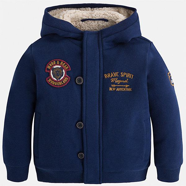Куртка для мальчика MayoralВерхняя одежда<br>Характеристики товара:<br><br>• цвет: синий<br>• состав ткани: 65% полиэстер, 35% хлопок, подкладка - 100% полиэстер<br>• длинные рукава<br>• сезон: демисезон<br>• застежка: пуговица<br>• манжеты<br>• капюшон<br>• страна бренда: Испания<br>• страна изготовитель: Индия<br><br>Синяя детская куртка подойдет для прохладной погоды. Отличный способ обеспечить ребенку тепло и комфорт - надеть теплую куртку от Mayoral. Детская куртка сшита из приятного на ощупь материала. Куртка для мальчика Mayoral дополнена теплой подкладкой. <br><br>Куртку для мальчика Mayoral (Майорал) можно купить в нашем интернет-магазине.<br><br>Ширина мм: 356<br>Глубина мм: 10<br>Высота мм: 245<br>Вес г: 519<br>Цвет: синий<br>Возраст от месяцев: 18<br>Возраст до месяцев: 24<br>Пол: Мужской<br>Возраст: Детский<br>Размер: 128,122,116,110,104,98,92,134<br>SKU: 6932731