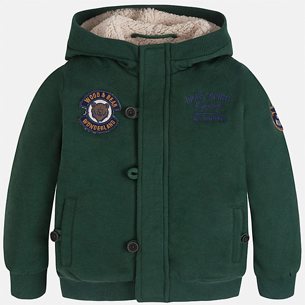 Куртка для мальчика MayoralВерхняя одежда<br>Характеристики товара:<br><br>• цвет: зеленый<br>• состав ткани: 65% полиэстер, 35% хлопок<br>• подкладка: 100% полиэстер<br>• сезон: демисезон<br>• особенности куртки: на молнии<br>• капюшон: без меха, несъемный<br>• застежка: молния<br>• страна бренда: Испания<br>• страна изготовитель: Индия<br><br>Эта детская куртка от Mayoral дополнена удобными карманами и капюшоном. Куртка для мальчика сшита из приятного на ощупь материала. Детская одежда от испанской компании Mayoral, как и эта демисезонная куртка, отличается оригинальным и всегда стильным дизайном. Качество продукции неизменно очень высокое.<br><br>Куртку для мальчика Mayoral (Майорал) можно купить в нашем интернет-магазине.<br>Ширина мм: 356; Глубина мм: 10; Высота мм: 245; Вес г: 519; Цвет: зеленый; Возраст от месяцев: 18; Возраст до месяцев: 24; Пол: Мужской; Возраст: Детский; Размер: 92,134,128,122,116,110,104,98; SKU: 6932749;