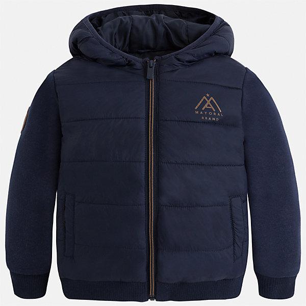 Куртка для мальчика MayoralВерхняя одежда<br>Характеристики товара:<br><br>• цвет: темно-синий<br>• ткань верха: 80% полиэстер, 12% хлопок, 8% полиэстер<br>• подкладка: 100% полиэстер<br>• утеплитель: 100% полиэстер<br>• сезон: демисезон<br>• температурный режим: от +15°до -5°С<br>• особенности куртки: на молнии<br>• капюшон: без меха, несъемный<br>• застежка: молния<br>• страна бренда: Испания<br>• страна изготовитель: Индия<br><br>Практичная и модная куртка для мальчика от Майорал поможет обеспечить ребенку тепло и комфорт. Такая детская куртка отличается лаконичным дизайном. В демисезонной куртке для мальчика от испанской компании Майорал ребенок будет выглядеть модно, а чувствовать себя - комфортно. Целая команда европейских талантливых дизайнеров работает над созданием стильных и оригинальных моделей одежды.<br><br>Куртку для мальчика Mayoral (Майорал) можно купить в нашем интернет-магазине.<br><br>Ширина мм: 356<br>Глубина мм: 10<br>Высота мм: 245<br>Вес г: 519<br>Цвет: темно-синий<br>Возраст от месяцев: 96<br>Возраст до месяцев: 108<br>Пол: Мужской<br>Возраст: Детский<br>Размер: 116,122,128,134,104,110<br>SKU: 6932758