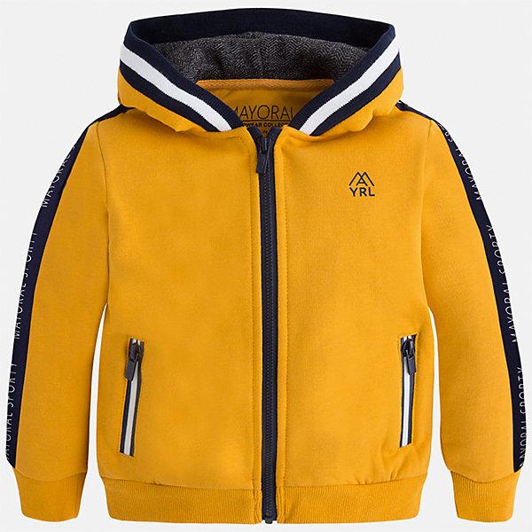 Куртка для мальчика MayoralТолстовки<br>Характеристики товара:<br><br>• цвет: оранжевый<br>• состав ткани: 55% хлопок, 45% полиэстер<br>• сезон: демисезон<br>• особенности толстовки: с манжетами, на молнии<br>• капюшон: без меха, несъемный<br>• застежка: молния<br>• страна бренда: Испания<br>• страна изготовитель: Индия<br><br>Яркая детская толстовка подойдет для прохладной погоды. Отличный способ обеспечить ребенку тепло и комфорт - надеть теплую толстовку от Mayoral. Детская толстовка сшита из приятного на ощупь материала. Толстовка для мальчика Mayoral дополнена удобным капюшоном. <br><br>Толстовку для мальчика Mayoral (Майорал) можно купить в нашем интернет-магазине.<br>Ширина мм: 356; Глубина мм: 10; Высота мм: 245; Вес г: 519; Цвет: оранжевый; Возраст от месяцев: 60; Возраст до месяцев: 72; Пол: Мужской; Возраст: Детский; Размер: 116,110,104,98,92,134,128,122; SKU: 6932766;