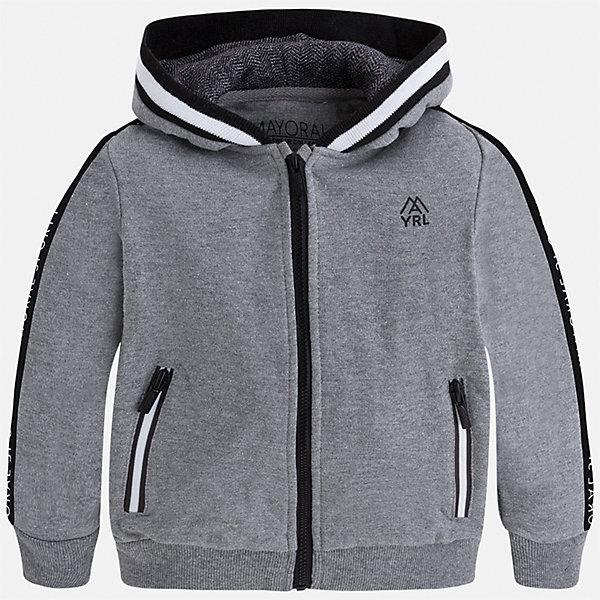 Куртка для мальчика MayoralТолстовки<br>Характеристики товара:<br><br>• цвет: серый<br>• состав ткани: 55% хлопок, 45% полиэстер<br>• сезон: демисезон<br>• особенности толстовки: с манжетами, на молнии<br>• капюшон: без меха, несъемный<br>• застежка: молния<br>• страна бренда: Испания<br>• страна изготовитель: Индия<br><br>Такая детская толстовка от Mayoral дополнена удобными карманами и капюшоном. Толстовка для мальчика сшита из приятного на ощупь хлопкового трикотажа. Детская одежда от испанской компании Mayoral, как и эта серая толстовка для мальчика, отличается оригинальным и всегда стильным дизайном. Качество продукции неизменно очень высокое.<br><br>Толстовку для мальчика Mayoral (Майорал) можно купить в нашем интернет-магазине.<br><br>Ширина мм: 356<br>Глубина мм: 10<br>Высота мм: 245<br>Вес г: 519<br>Цвет: серый<br>Возраст от месяцев: 18<br>Возраст до месяцев: 24<br>Пол: Мужской<br>Возраст: Детский<br>Размер: 92,98,104,110,116,122,128,134<br>SKU: 6932775