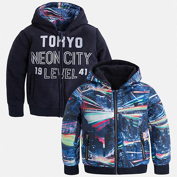 Куртка для мальчика MayoralТолстовки<br>Характеристики товара:<br><br>• цвет: синий<br>• состав ткани: 100% полиэстер<br>• подкладка: 100% полиэстер<br>• сезон: демисезон<br>• особенности куртки: двусторонняя<br>• капюшон: без меха, несъемный<br>• застежка: молния<br>• страна бренда: Испания<br>• страна изготовитель: Индия<br><br>Двусторонняя детская куртка подойдет для прохладной погоды. Отличный способ обеспечить ребенку тепло и комфорт - надеть теплую куртку от Mayoral. Детская куртка сшита из приятного на ощупь материала. Куртку для мальчика Mayoral достаточно вывернуть - и получится еще одна модель другой расцветки. <br><br>Куртку для мальчика Mayoral (Майорал) можно купить в нашем интернет-магазине.<br><br>Ширина мм: 356<br>Глубина мм: 10<br>Высота мм: 245<br>Вес г: 519<br>Цвет: синий<br>Возраст от месяцев: 96<br>Возраст до месяцев: 108<br>Пол: Мужской<br>Возраст: Детский<br>Размер: 134,98,104,110,116,122,128<br>SKU: 6932791