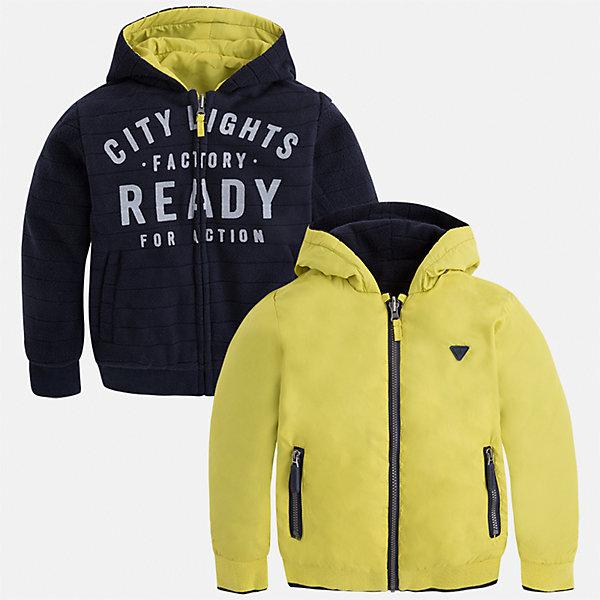 Куртка для мальчика MayoralВерхняя одежда<br>Характеристики товара:<br><br>• цвет: зеленый<br>• состав ткани: 100% полиэстер<br>• подкладка: 100% полиэстер<br>• сезон: демисезон<br>• особенности куртки: двусторонняя<br>• капюшон: без меха, несъемный<br>• застежка: молния<br>• страна бренда: Испания<br>• страна изготовитель: Индия<br><br>Такая детская двухсторонняя куртка от Mayoral дополнена удобными карманами и капюшоном. Куртка для мальчика сшита из приятного на ощупь материала. Детская одежда от испанской компании Mayoral, как и эта двусторонняя куртка для мальчика, отличается оригинальным и всегда стильным дизайном. Качество продукции неизменно очень высокое.<br><br>Куртку для мальчика Mayoral (Майорал) можно купить в нашем интернет-магазине.<br><br>Ширина мм: 356<br>Глубина мм: 10<br>Высота мм: 245<br>Вес г: 519<br>Цвет: зеленый<br>Возраст от месяцев: 48<br>Возраст до месяцев: 60<br>Пол: Мужской<br>Возраст: Детский<br>Размер: 110,116,122,128,134,98,104<br>SKU: 6932799