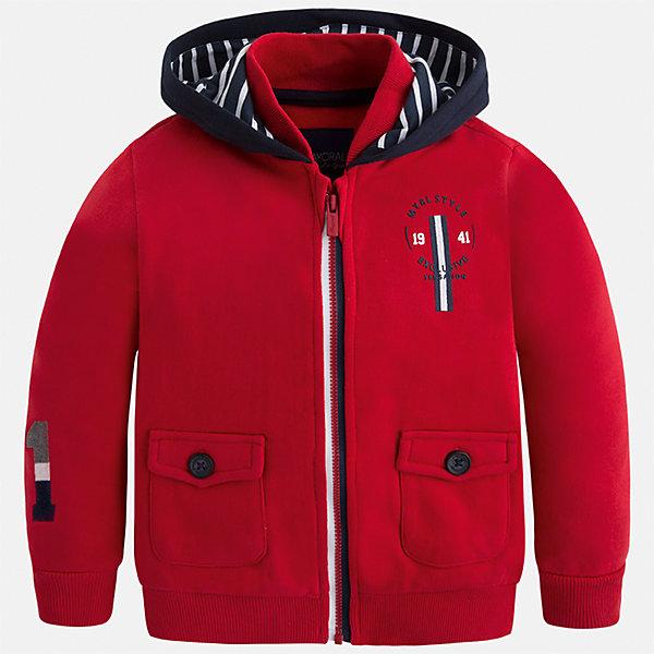 Куртка для мальчика MayoralВерхняя одежда<br>Характеристики товара:<br><br>• цвет: красный<br>• состав ткани: 100% хлопок<br>• сезон: демисезон<br>• особенности толстовки: с манжетами, на молнии<br>• капюшон: без меха, несъемный<br>• застежка: молния<br>• страна бренда: Испания<br>• страна изготовитель: Индия<br><br>Такая детская толстовка от Mayoral дополнена удобными карманами и капюшоном. Толстовка для мальчика сшита из приятного на ощупь хлопкового материала. Детская одежда от испанской компании Mayoral, как и эта яркая толстовка для мальчика, отличается оригинальным и всегда стильным дизайном. Качество продукции неизменно очень высокое. <br><br>Толстовку для мальчика Mayoral (Майорал) можно купить в нашем интернет-магазине.<br>Ширина мм: 356; Глубина мм: 10; Высота мм: 245; Вес г: 519; Цвет: красный; Возраст от месяцев: 18; Возраст до месяцев: 24; Пол: Мужской; Возраст: Детский; Размер: 92,134,98,104,110,116,122,128; SKU: 6932825;
