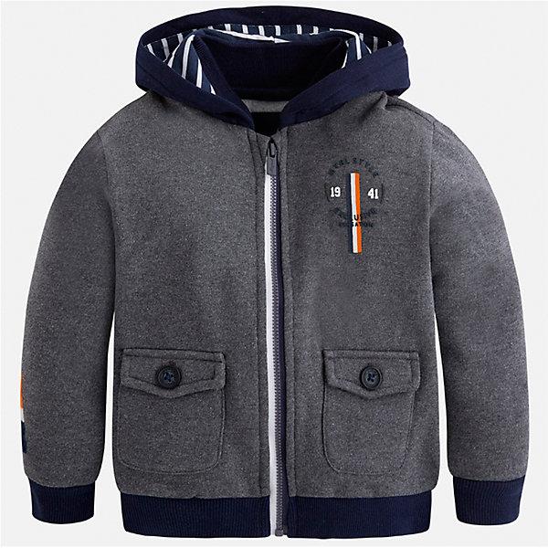 Куртка для мальчика MayoralТолстовки<br>Характеристики товара:<br><br>• цвет: серый<br>• состав ткани: 100% хлопок<br>• сезон: демисезон<br>• особенности толстовки: с манжетами, на молнии<br>• капюшон: без меха, несъемный<br>• застежка: молния<br>• страна бренда: Испания<br>• страна изготовитель: Индия<br><br>Модная толстовка для мальчика от Майорал поможет обеспечить ребенку тепло и комфорт. Такая детская толстовка отличается лаконичным дизайном. В теплой толстовке для мальчика от испанской компании Майорал ребенок будет выглядеть модно, а чувствовать себя - комфортно. Целая команда европейских талантливых дизайнеров работает над созданием стильных и оригинальных моделей одежды.<br><br>Толстовку для мальчика Mayoral (Майорал) можно купить в нашем интернет-магазине.<br><br>Ширина мм: 356<br>Глубина мм: 10<br>Высота мм: 245<br>Вес г: 519<br>Цвет: серый<br>Возраст от месяцев: 18<br>Возраст до месяцев: 24<br>Пол: Мужской<br>Возраст: Детский<br>Размер: 92,134,128,122,116,110,104,98<br>SKU: 6932834